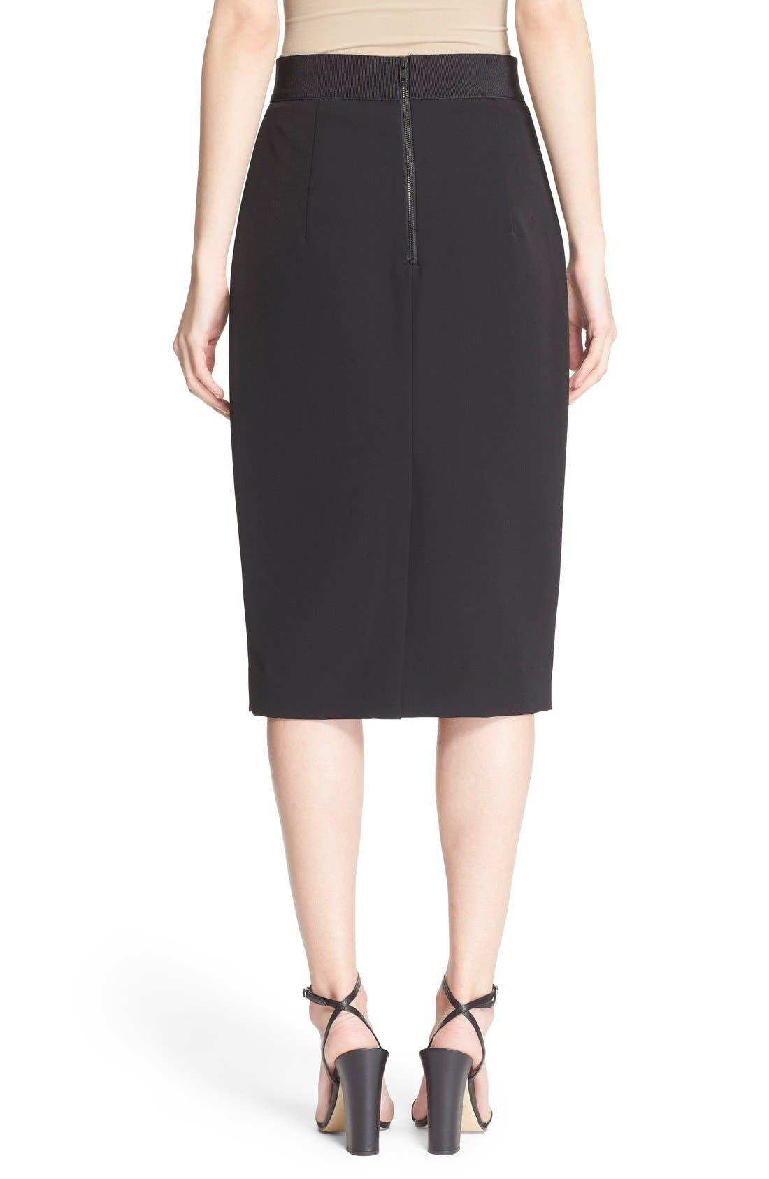 Italian Cady Pencil Skirt,                             Alternate thumbnail 4, color,                             001