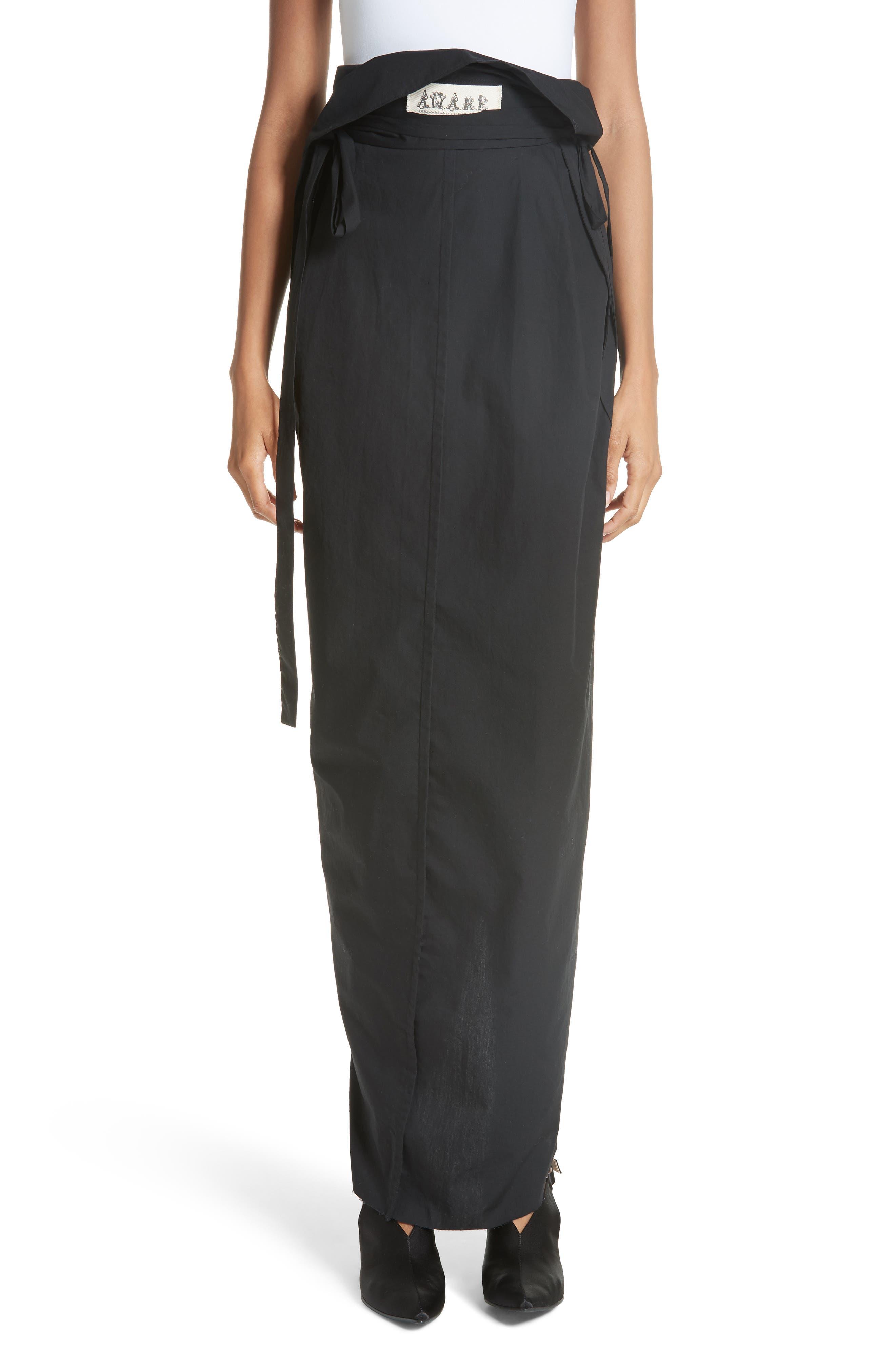 High Waist Wrap Skirt,                             Main thumbnail 1, color,                             001