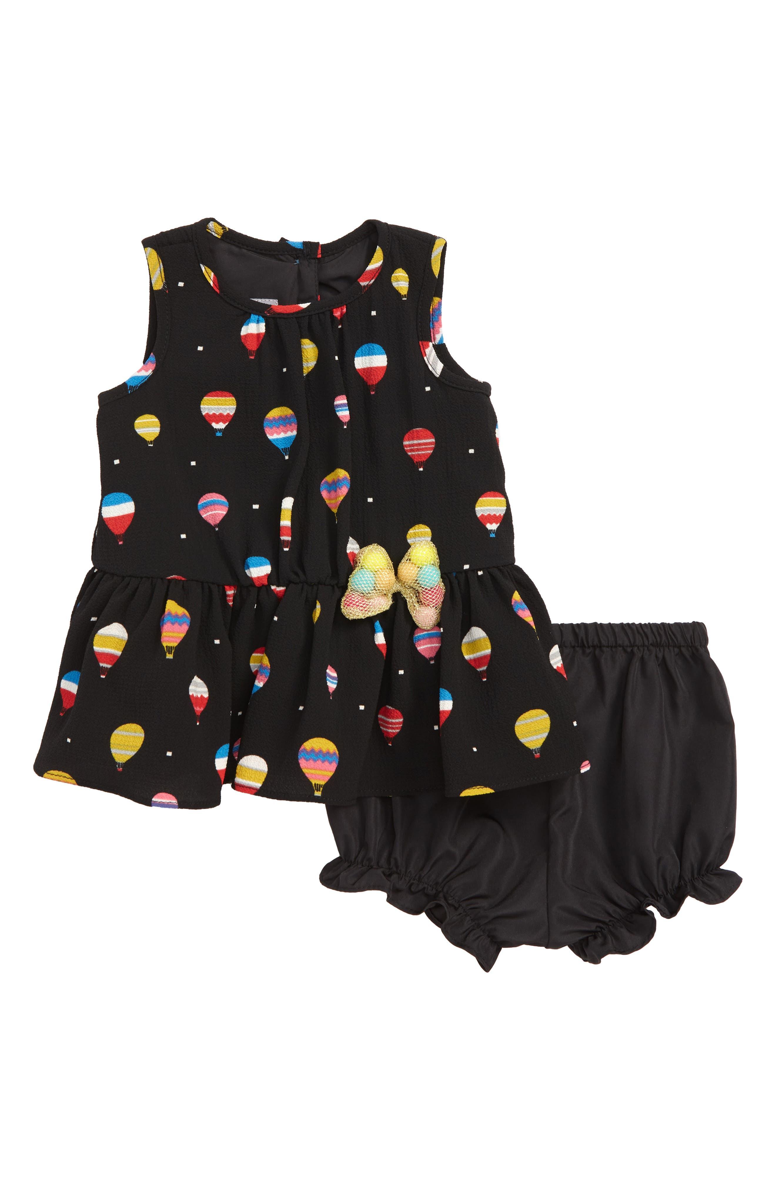 Hot Air Balloon Dress,                         Main,                         color, BLACK