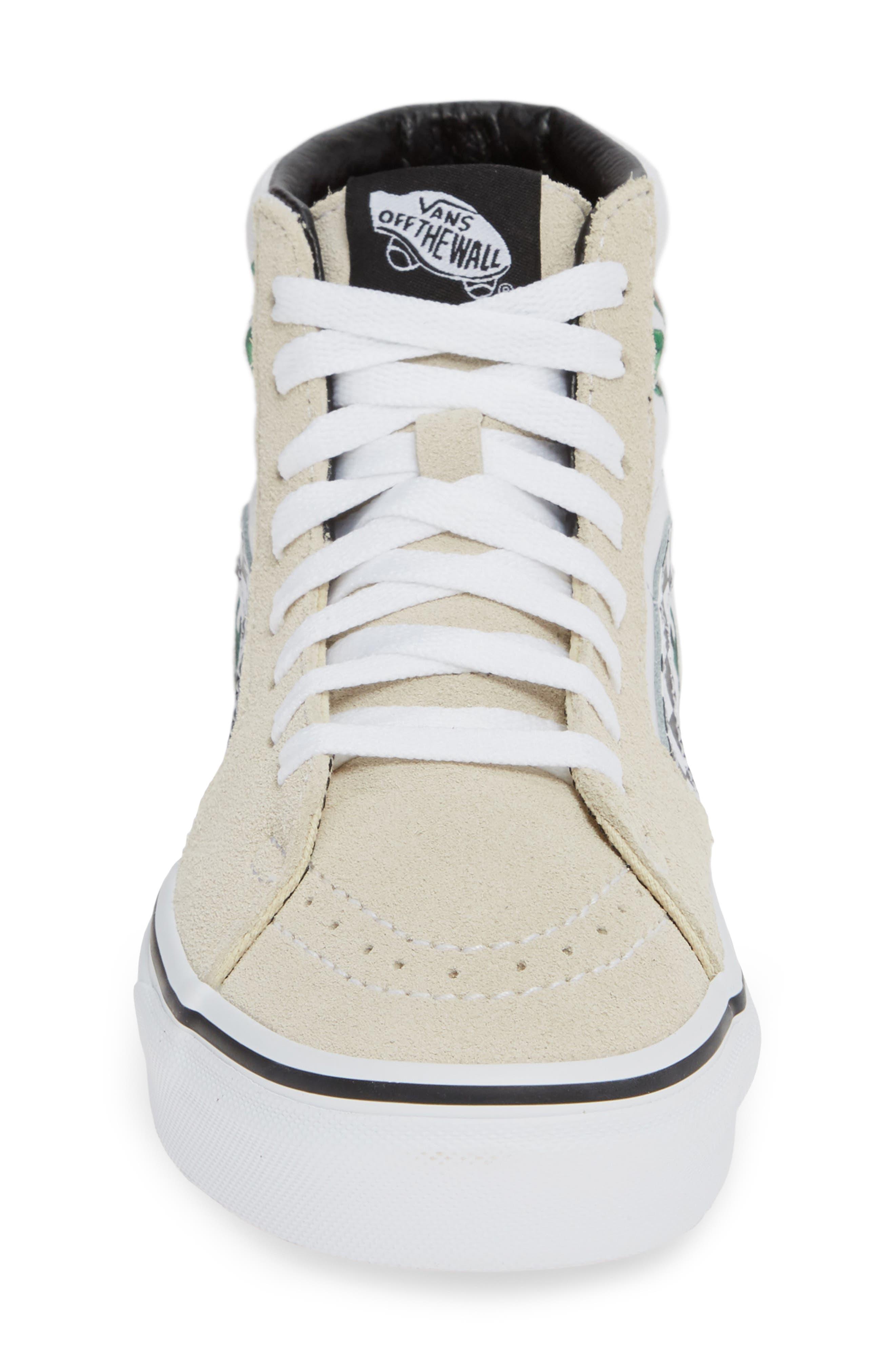 VANS,                             Sk8-Hi Checker Floral High Top Sneaker,                             Alternate thumbnail 4, color,                             CHECKER FLORAL TURTLEDOVE
