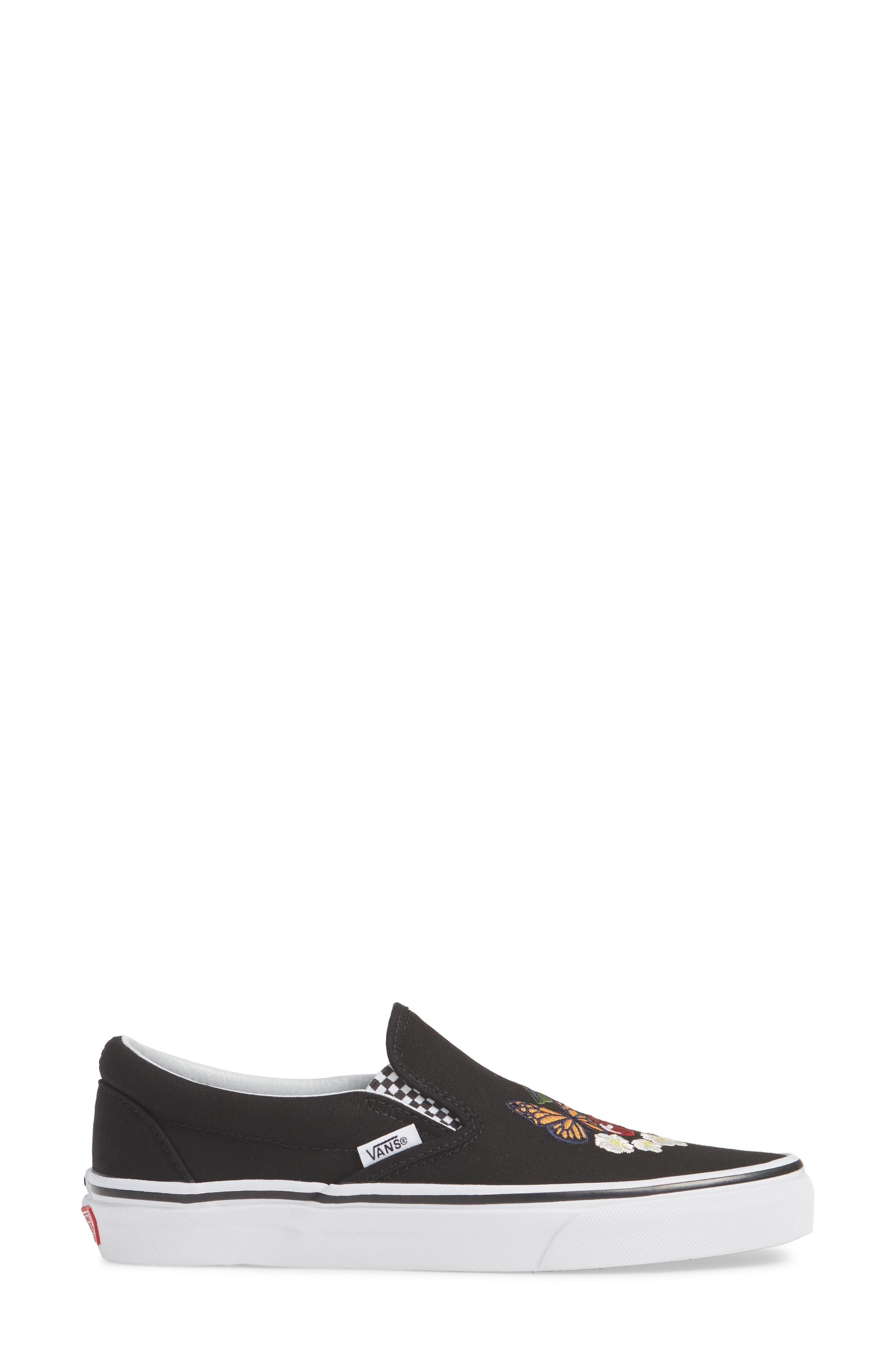Classic Slip-On Sneaker,                             Alternate thumbnail 3, color,                             CHECKER FLORAL BLACK