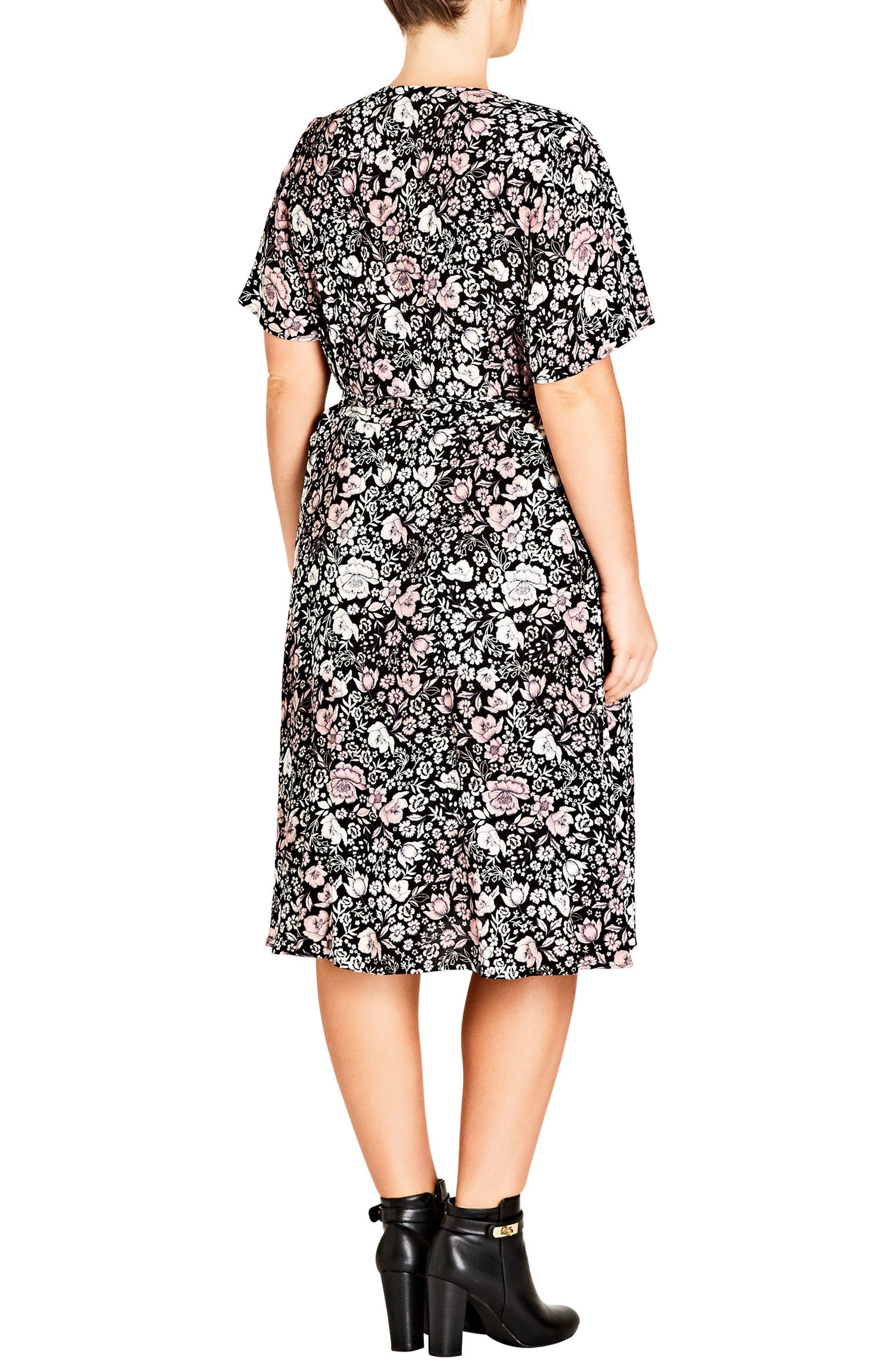 Etched Floral Wrap Dress,                             Alternate thumbnail 2, color,