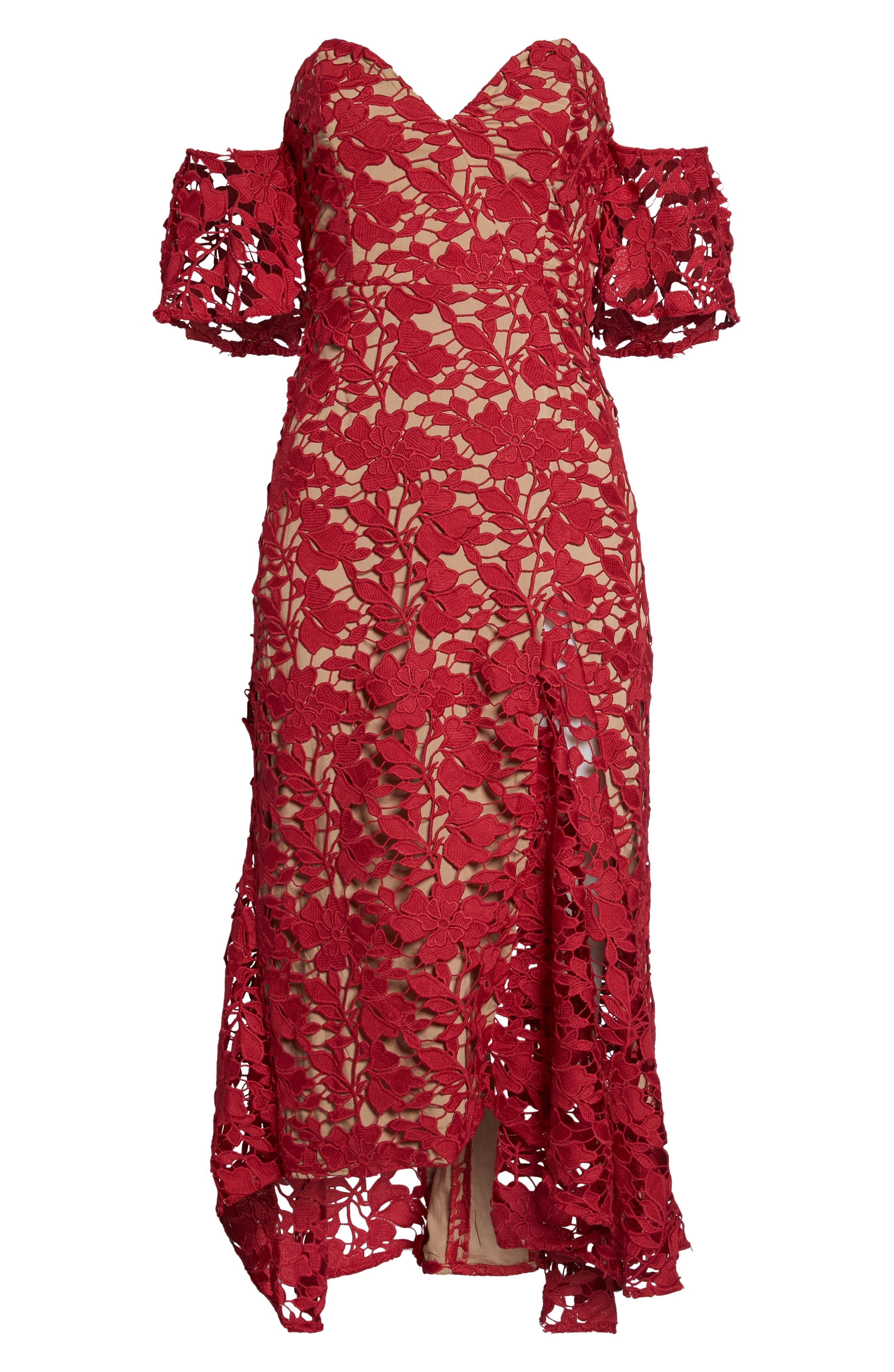 Scarlett Off the Shoulder Lace Dress,                             Alternate thumbnail 6, color,                             RED