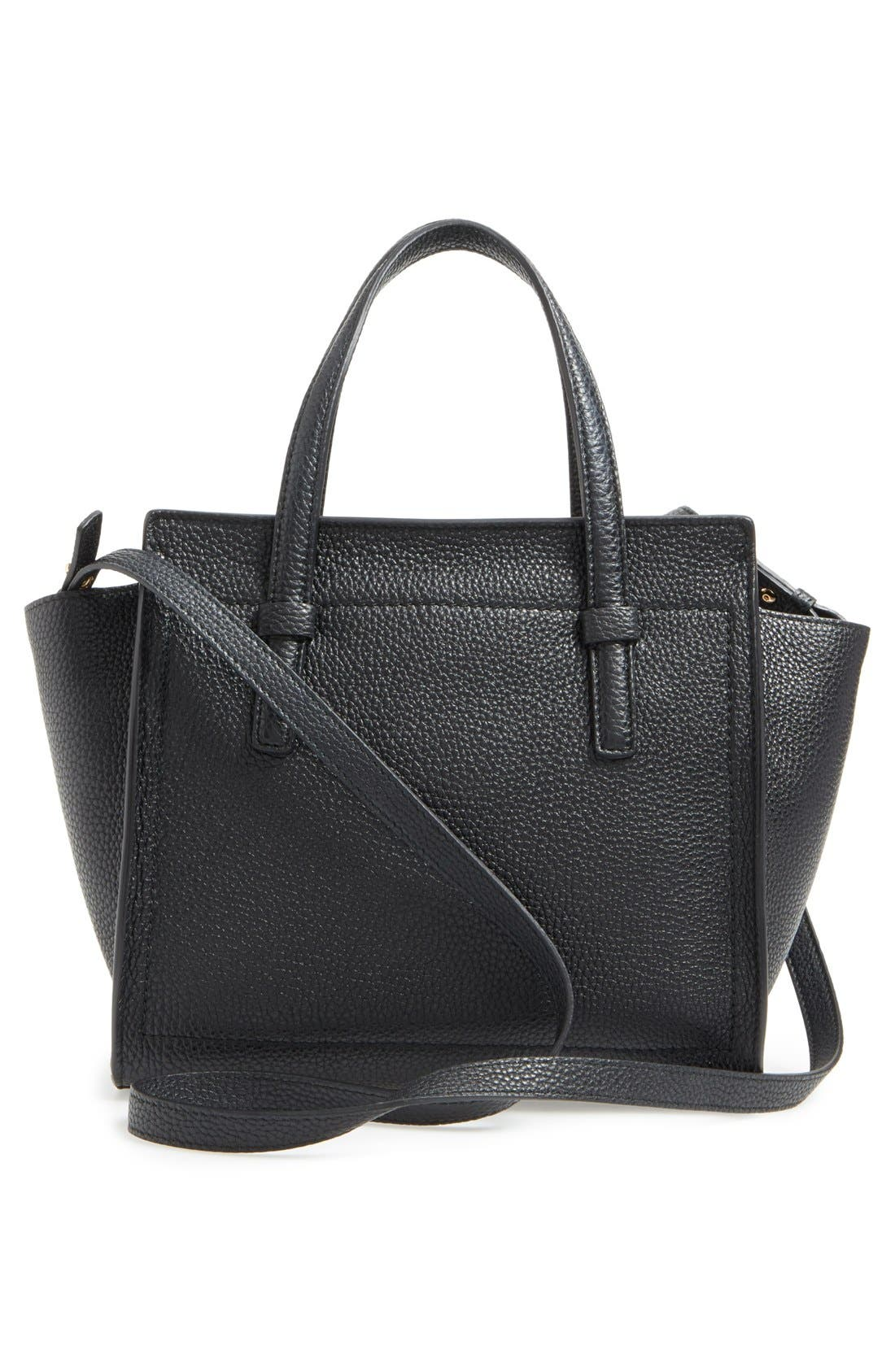 Small Amy Pebbled Leather Tote,                             Alternate thumbnail 3, color,                             NERO