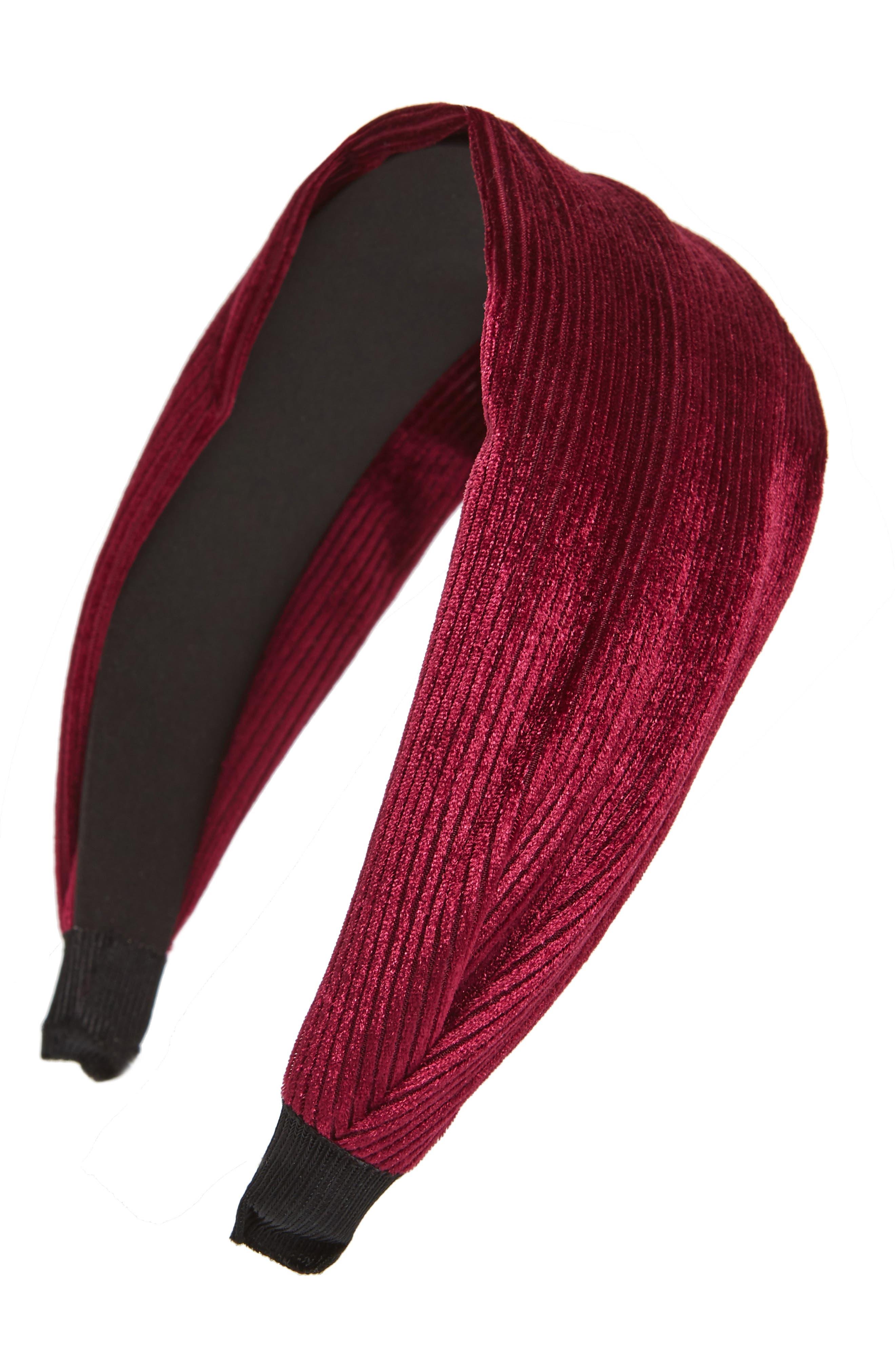 Pleated Headband,                         Main,                         color, RED