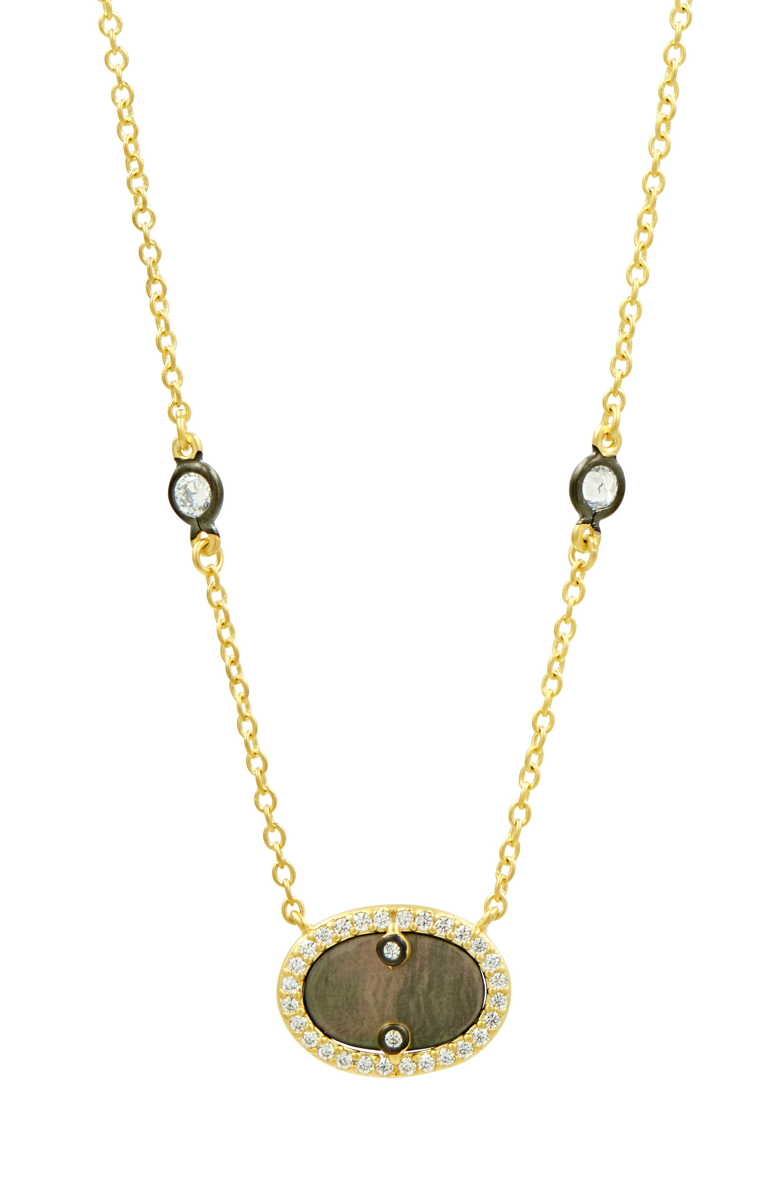 Color Theory Pave Crystal Pendant Necklace in Gold/ Black