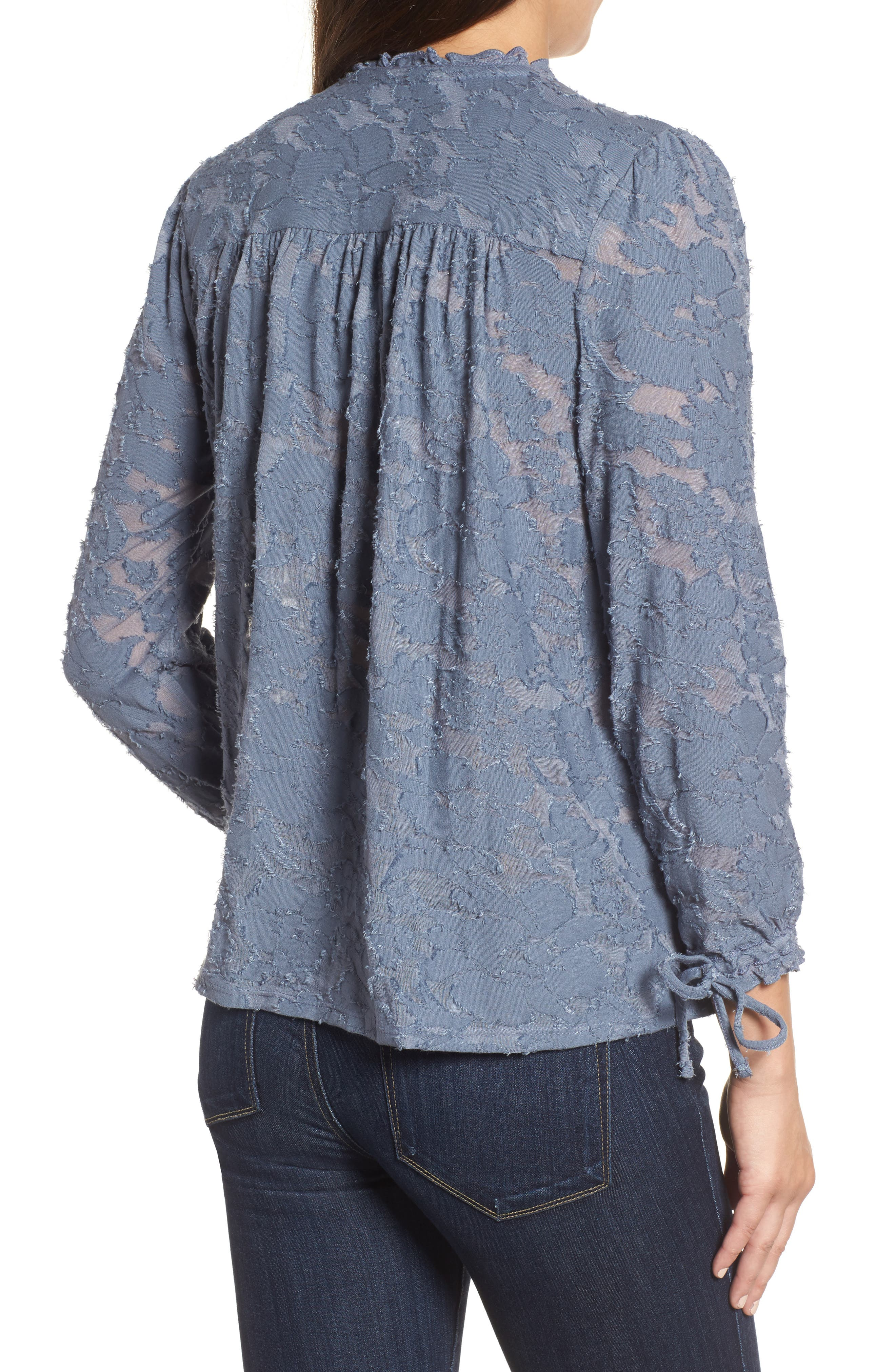 Floral Clipped Jacquard Top,                             Alternate thumbnail 2, color,                             420