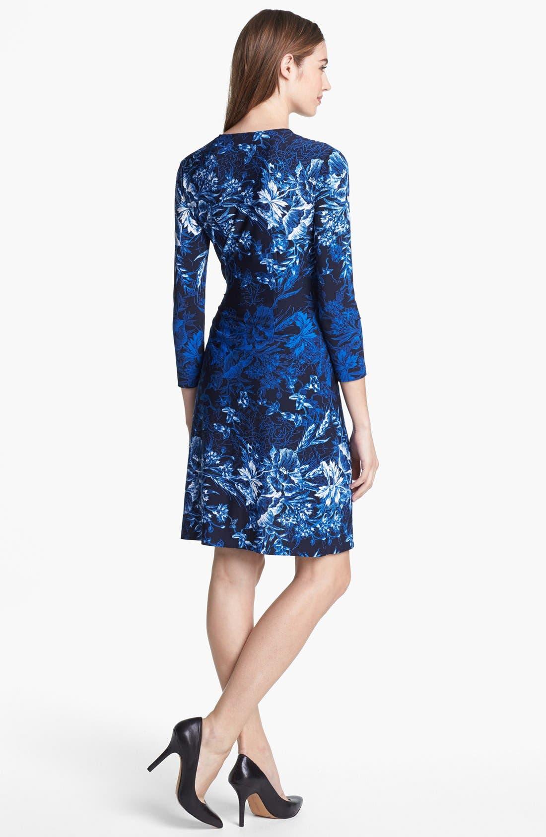 BCBGMAXAZRIA,                             Print Jersey Wrap Dress,                             Alternate thumbnail 3, color,                             474