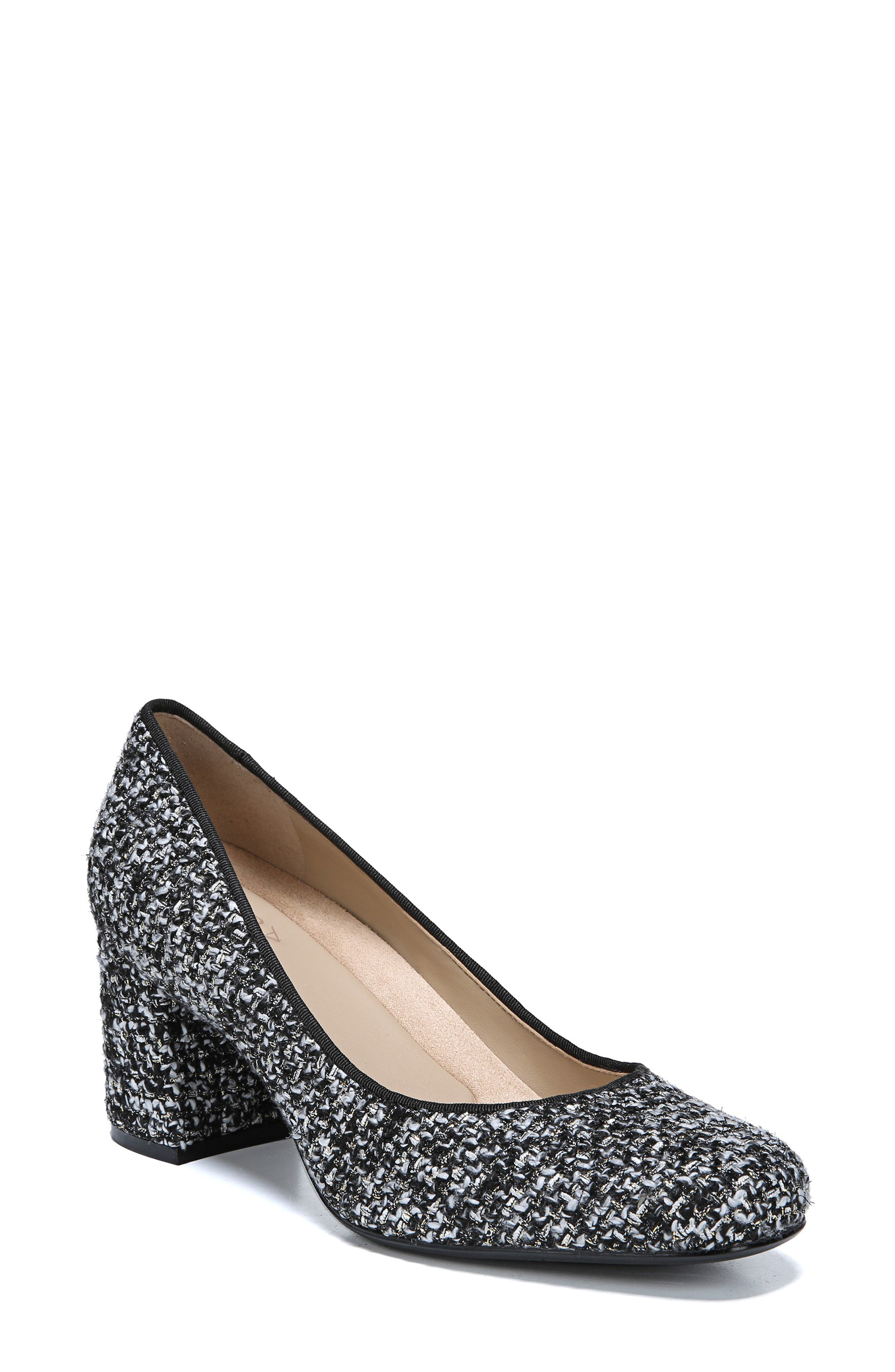 Whitney Pump,                         Main,                         color, BLACK/ WHITE TWEED FABRIC