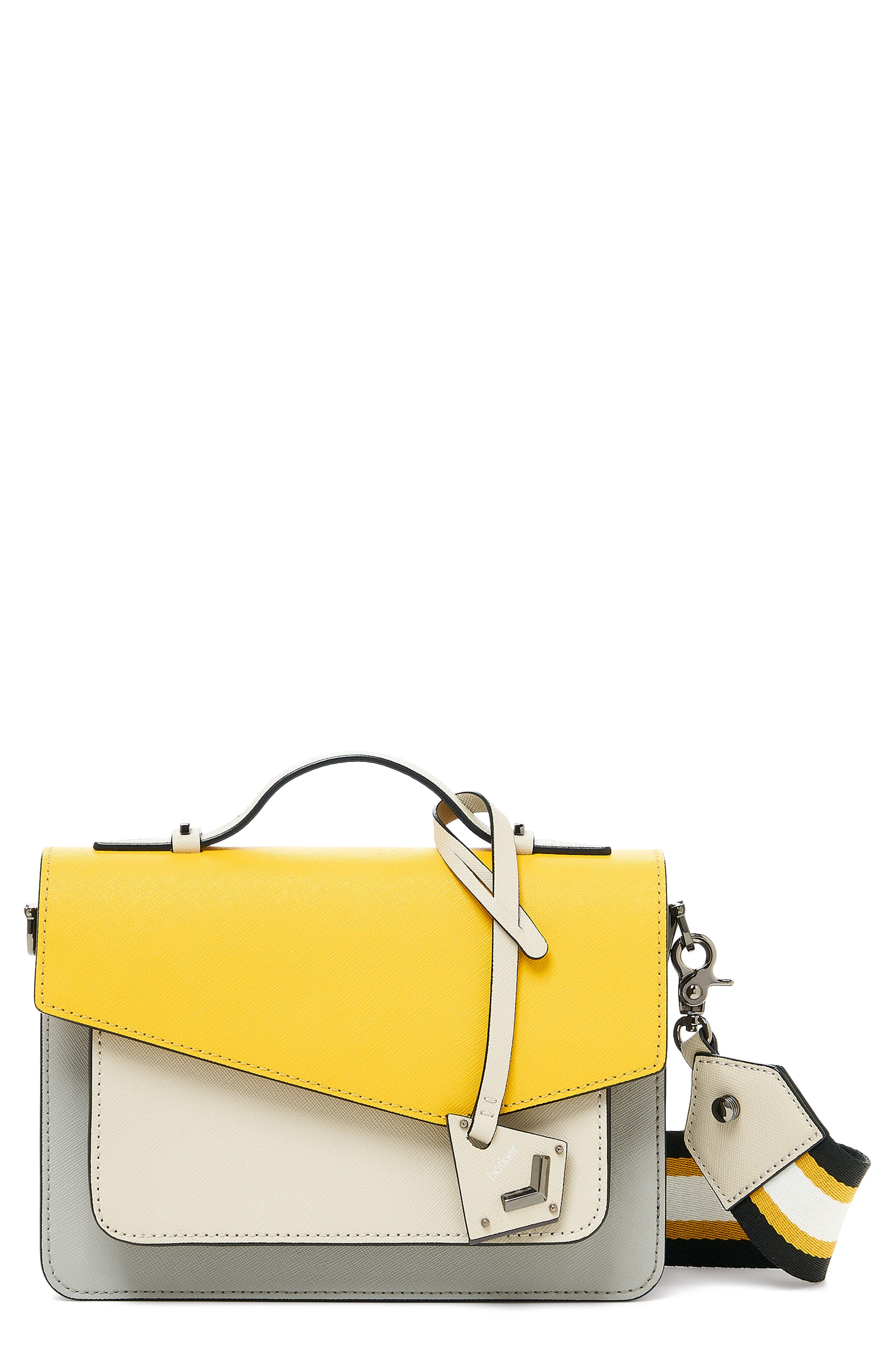 Cobble Hill Leather Crossbody Bag - Yellow in Marigold Pop