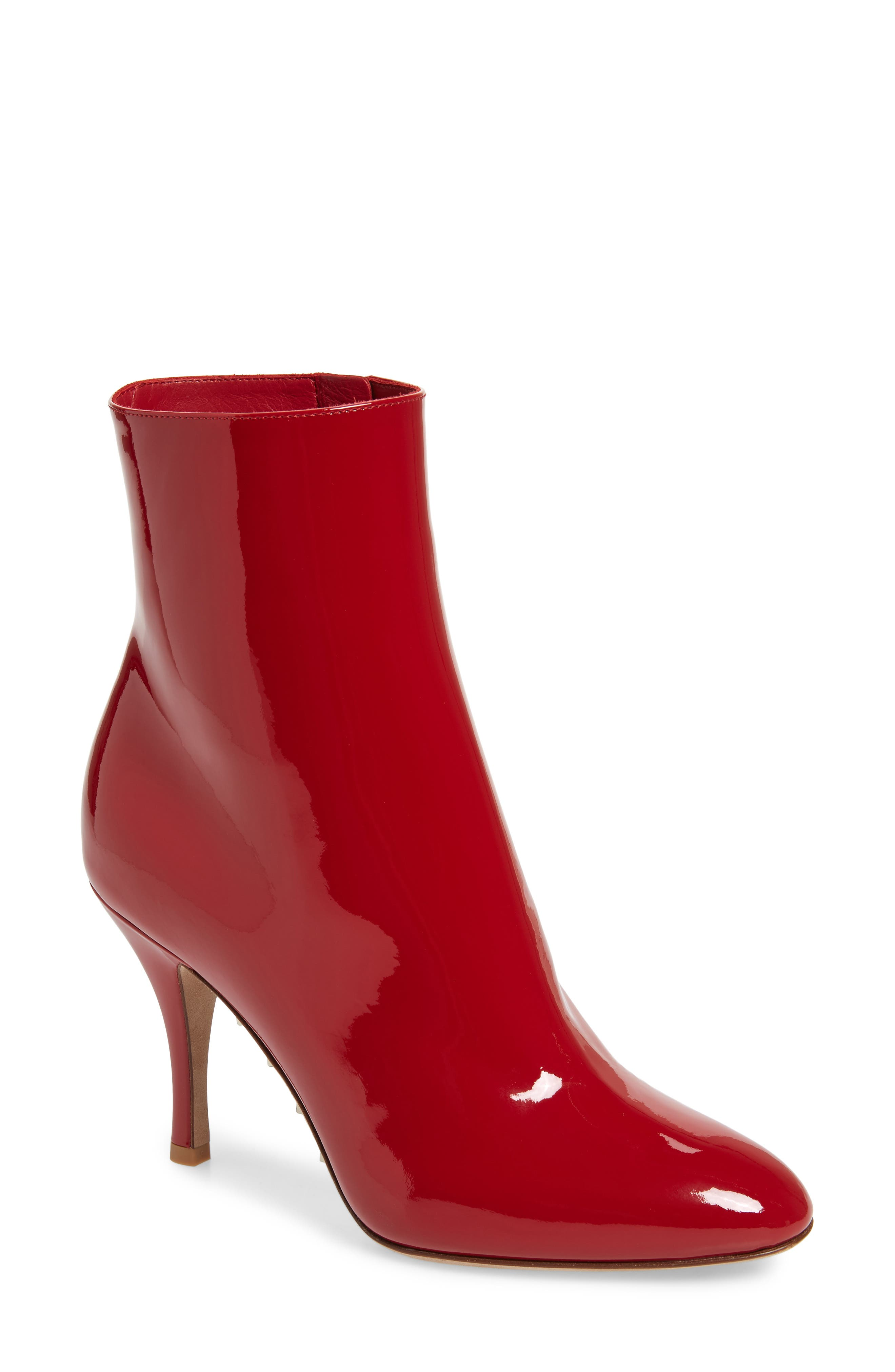 Killer Stud Patent Leather Ankle Boots in Red