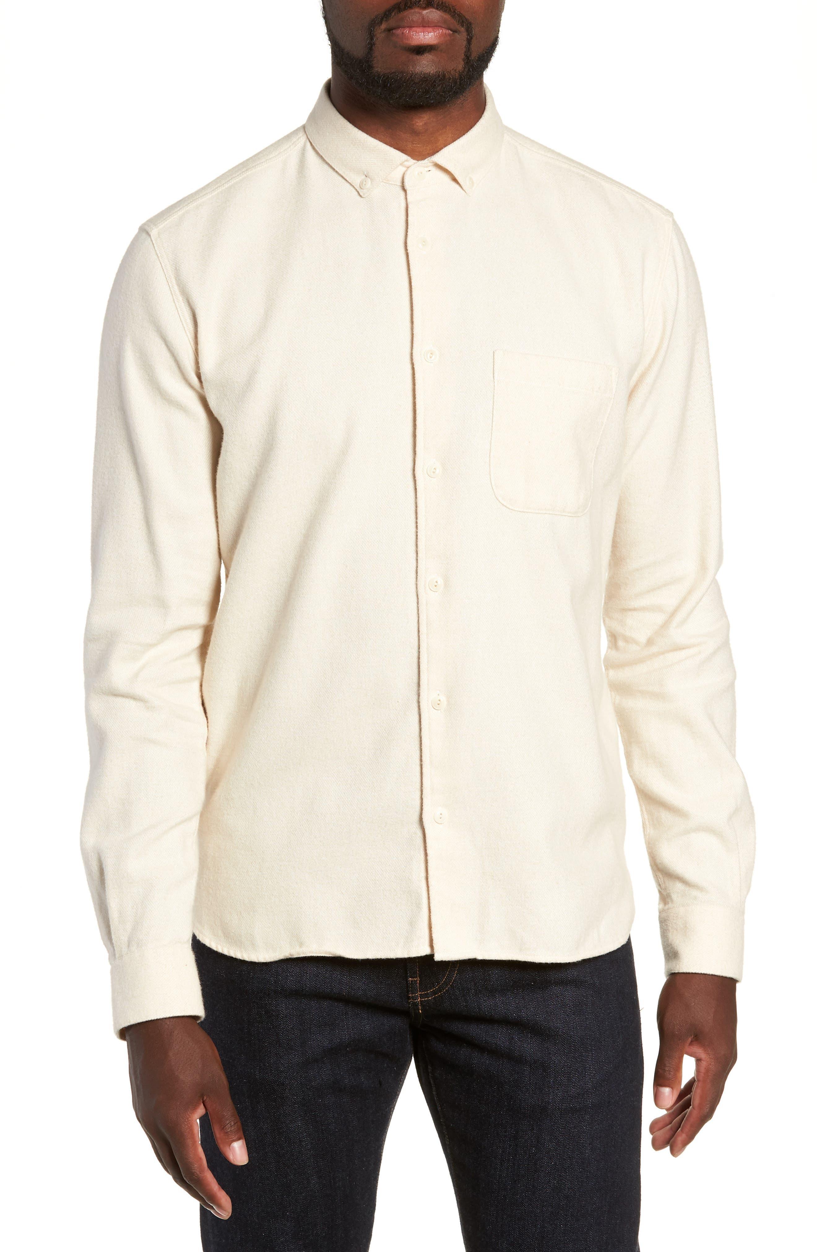Marl Flannel Shirt,                         Main,                         color, ECRU