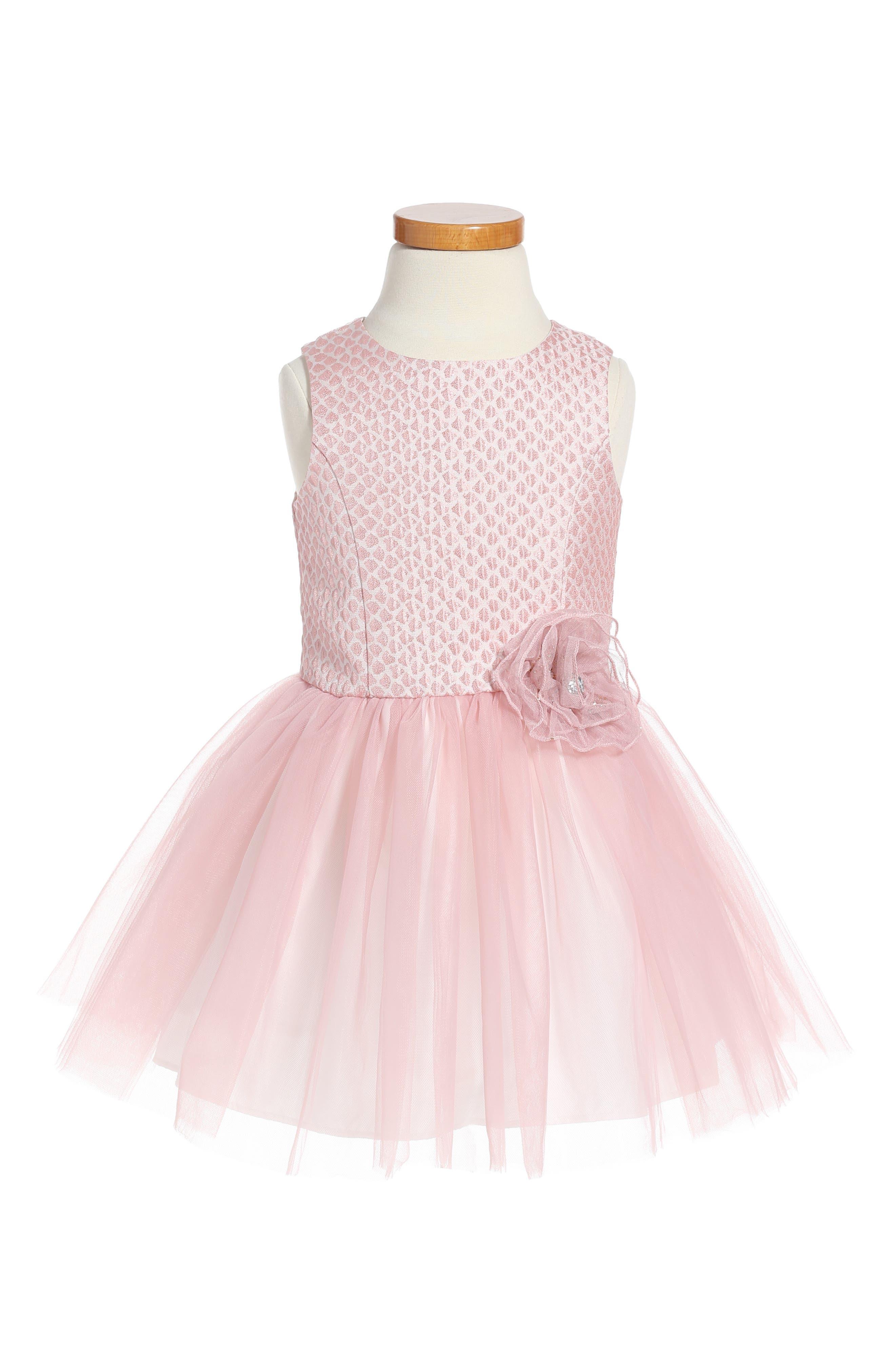 Brocade & Tulle Dress,                         Main,                         color, 650