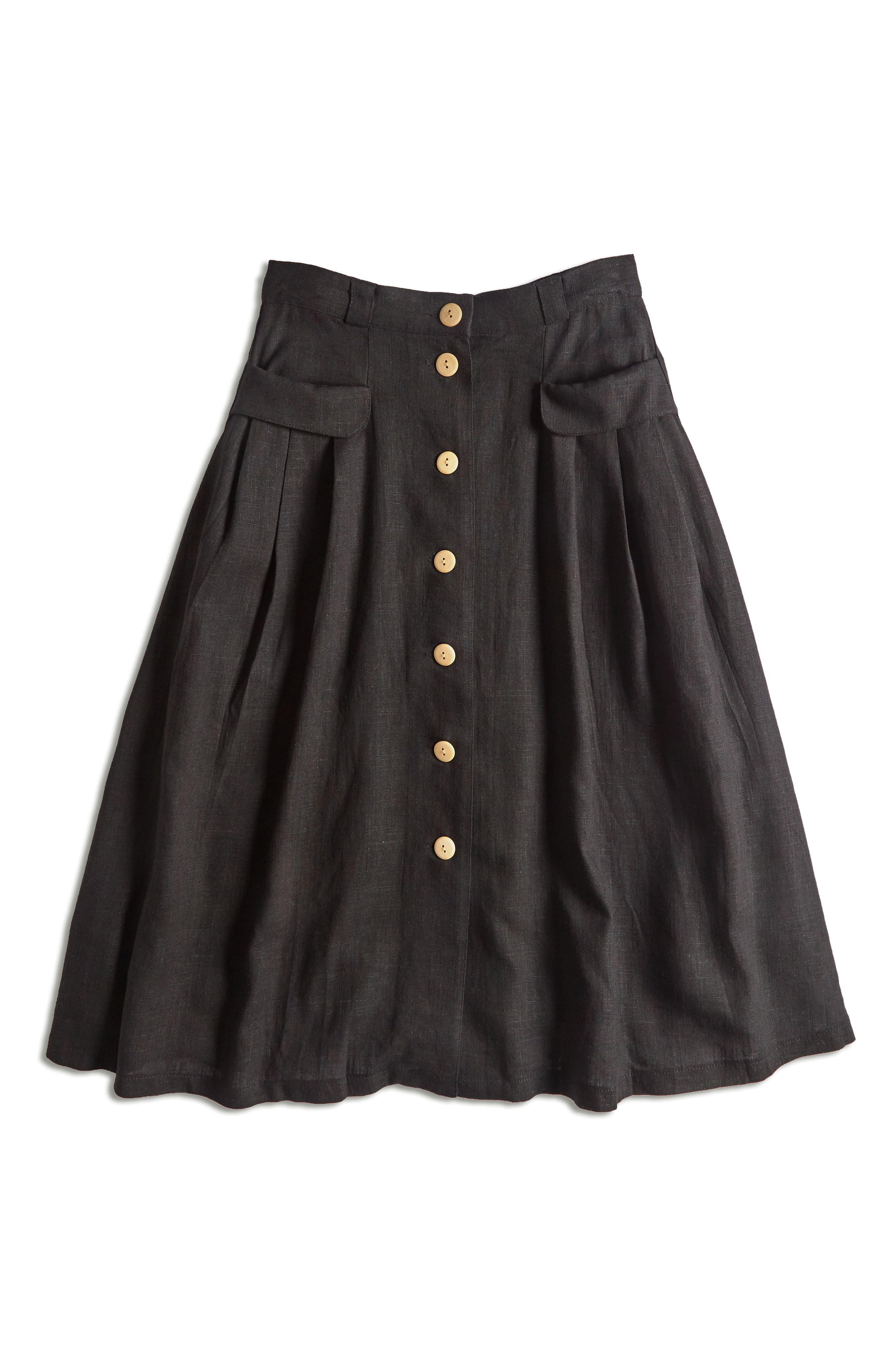 MODCLOTH,                             Pleat Midi Skirt,                             Alternate thumbnail 5, color,                             BLACK