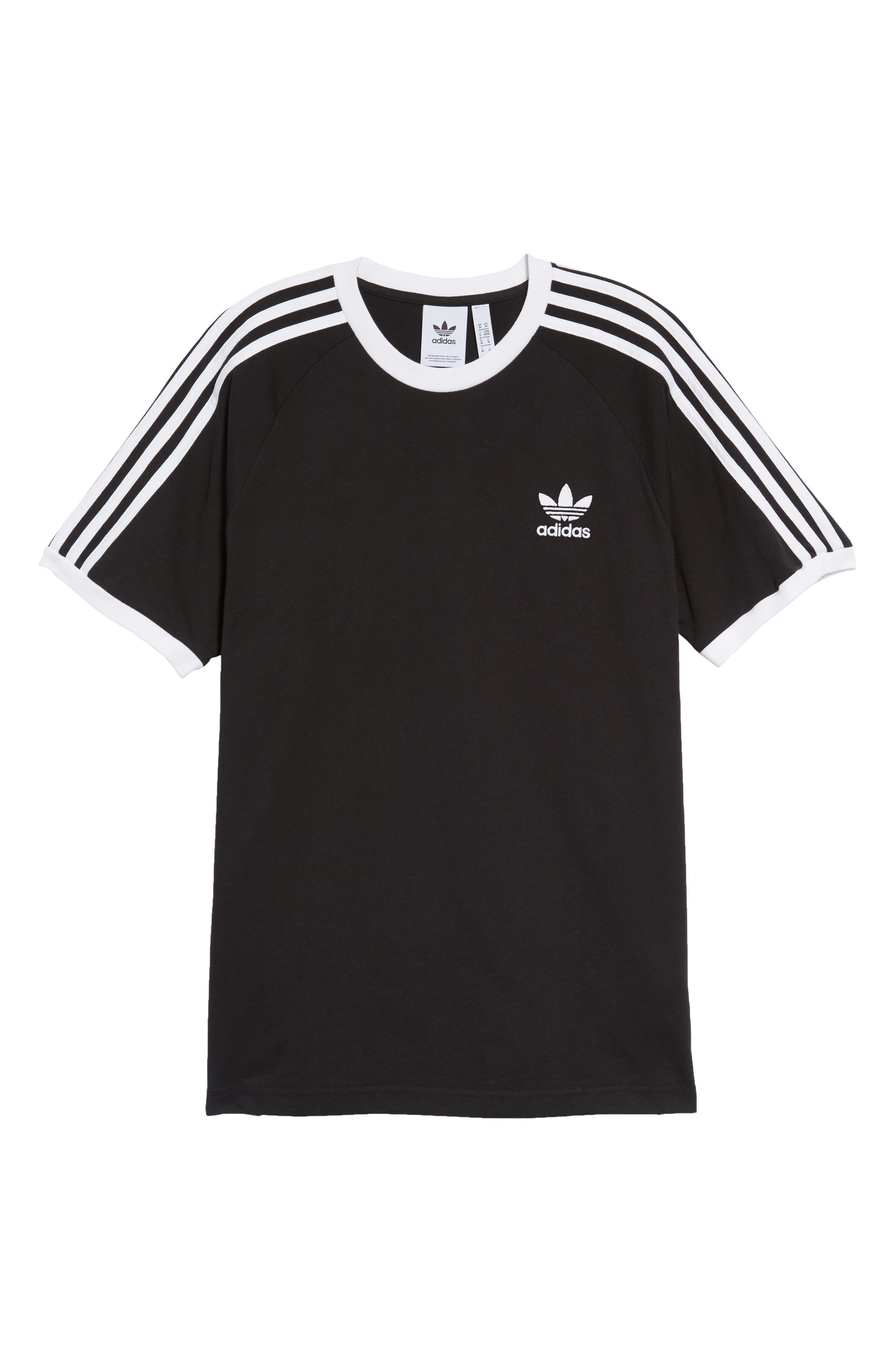 3-Stripes T-Shirt,                             Alternate thumbnail 6, color,                             BLACK