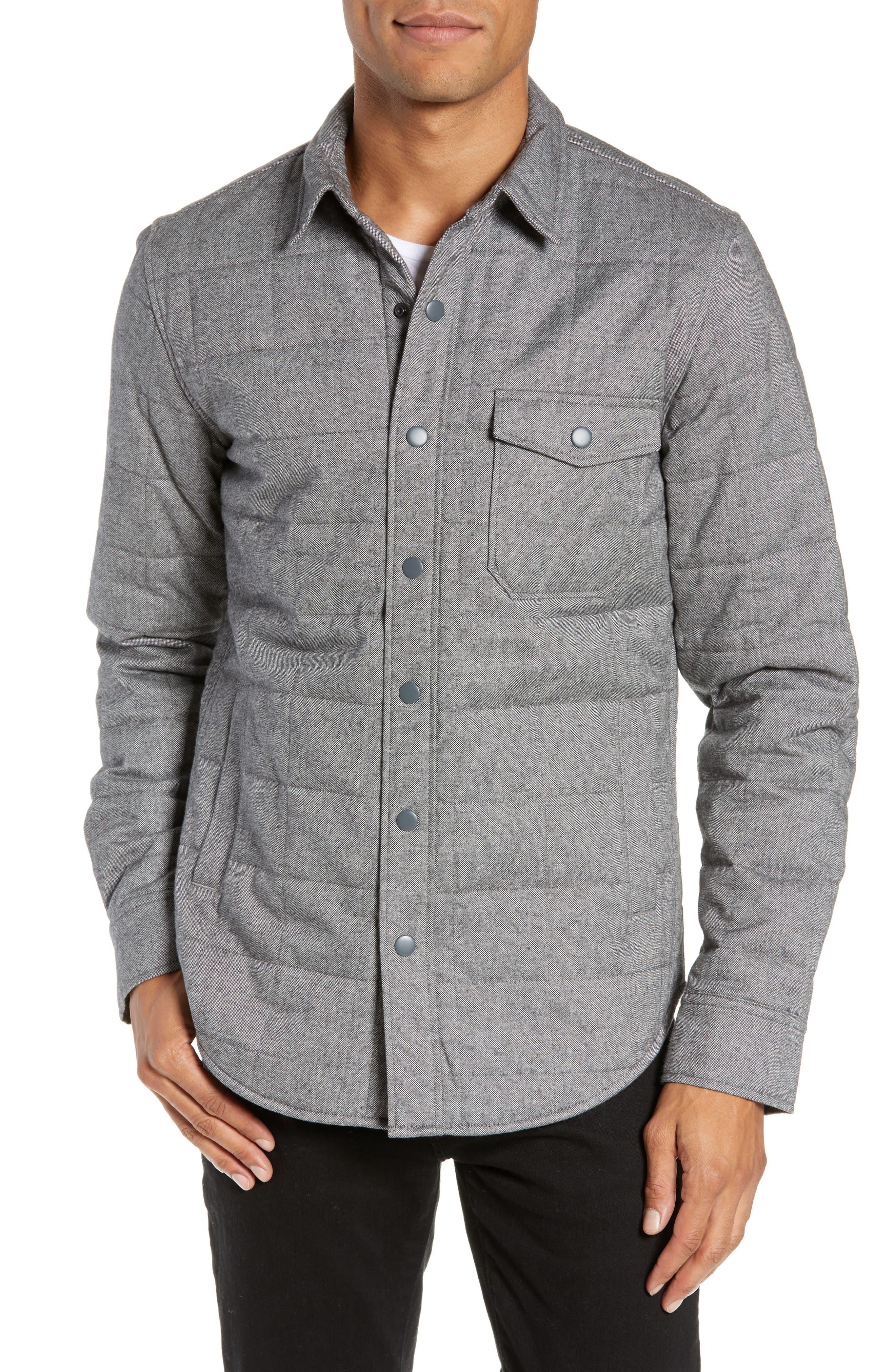 Quilted Herringbone Shirt Jacket,                             Alternate thumbnail 4, color,                             GREY COTTON HERRINGBONE