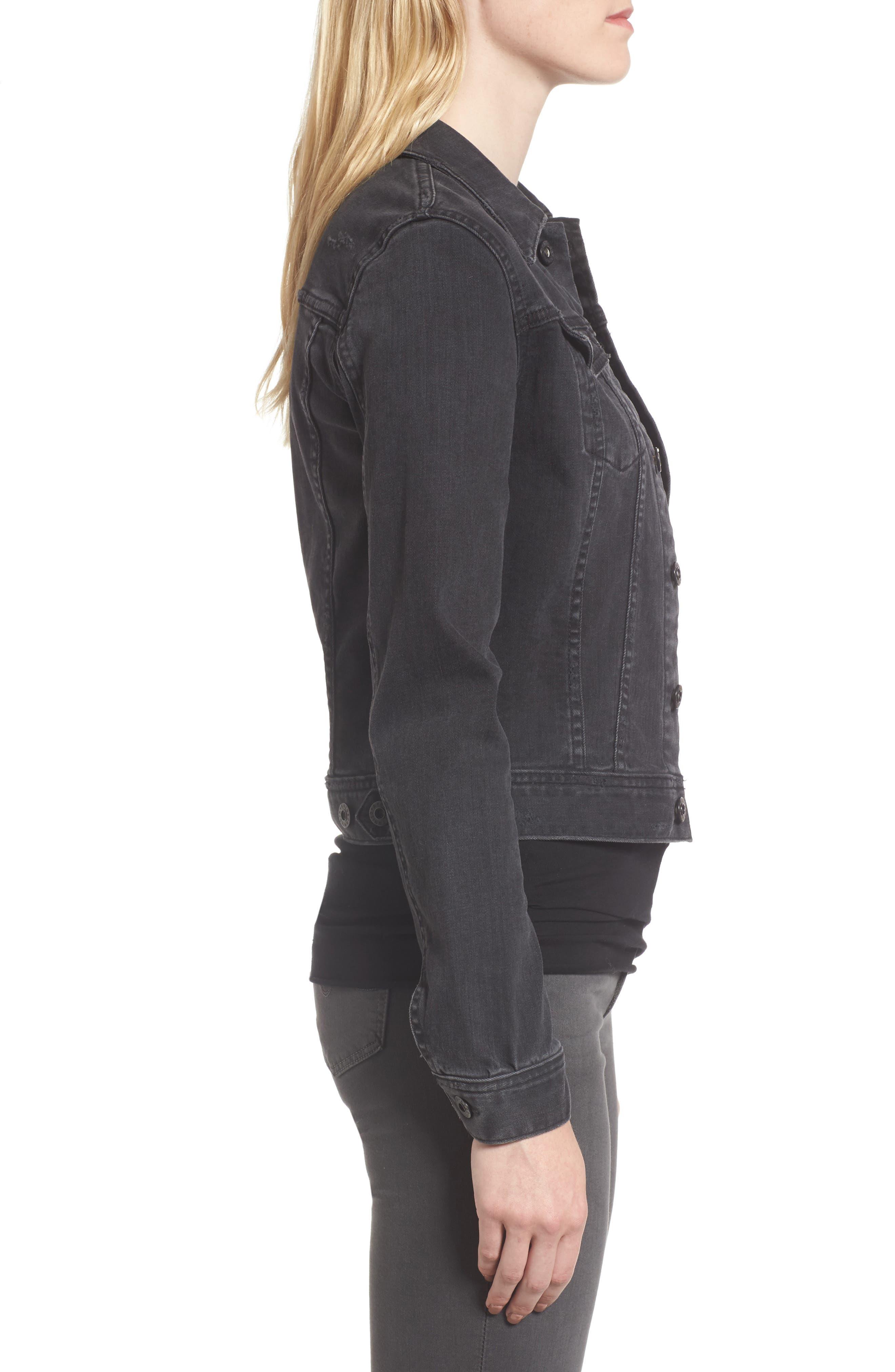 'Robyn' Crop Denim Jacket,                             Alternate thumbnail 3, color,                             014