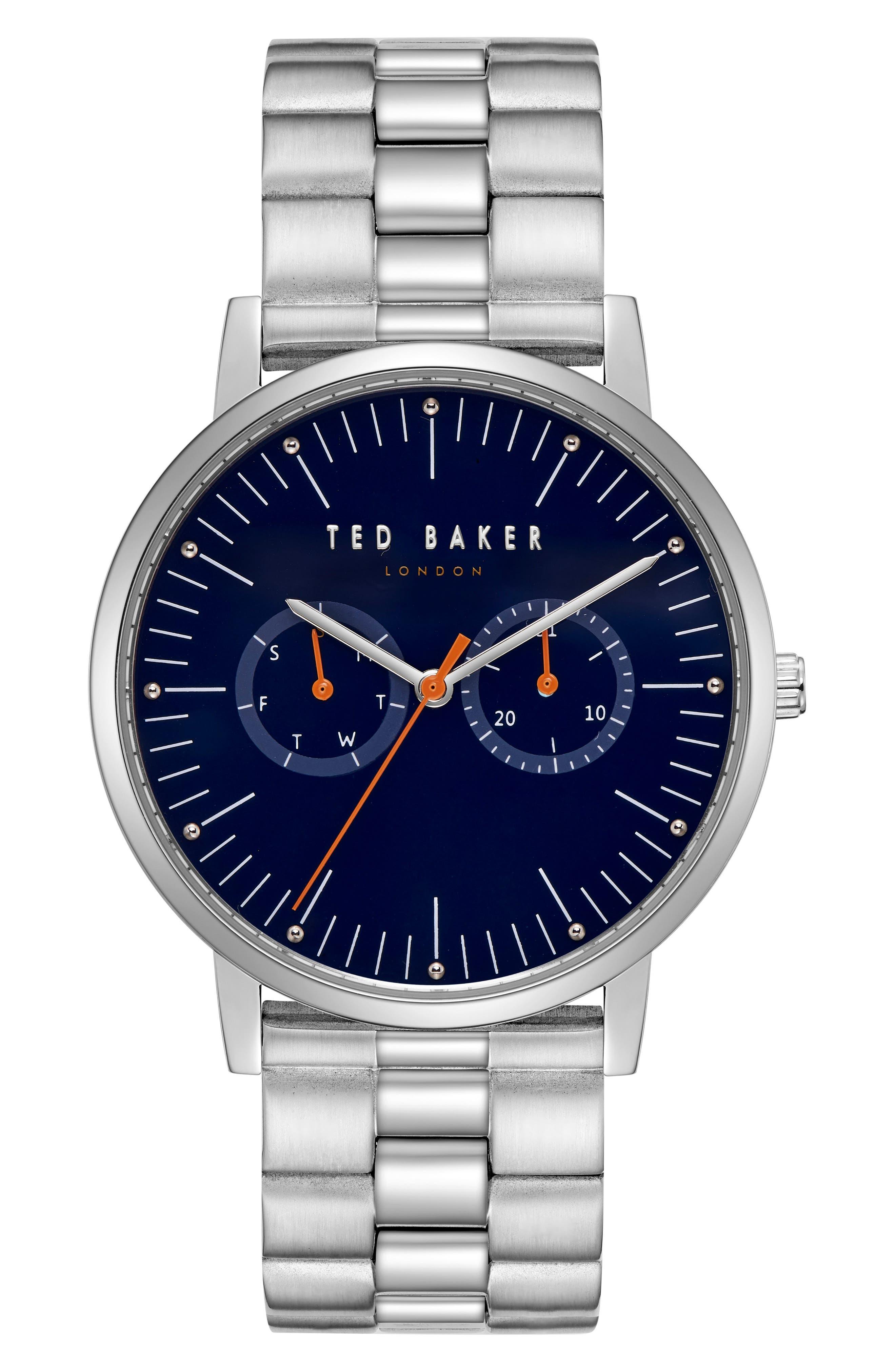 Brit Multifunction Bracelet Watch, 40mm,                             Main thumbnail 1, color,                             DARK BLUE/ STAINLESS STEEL