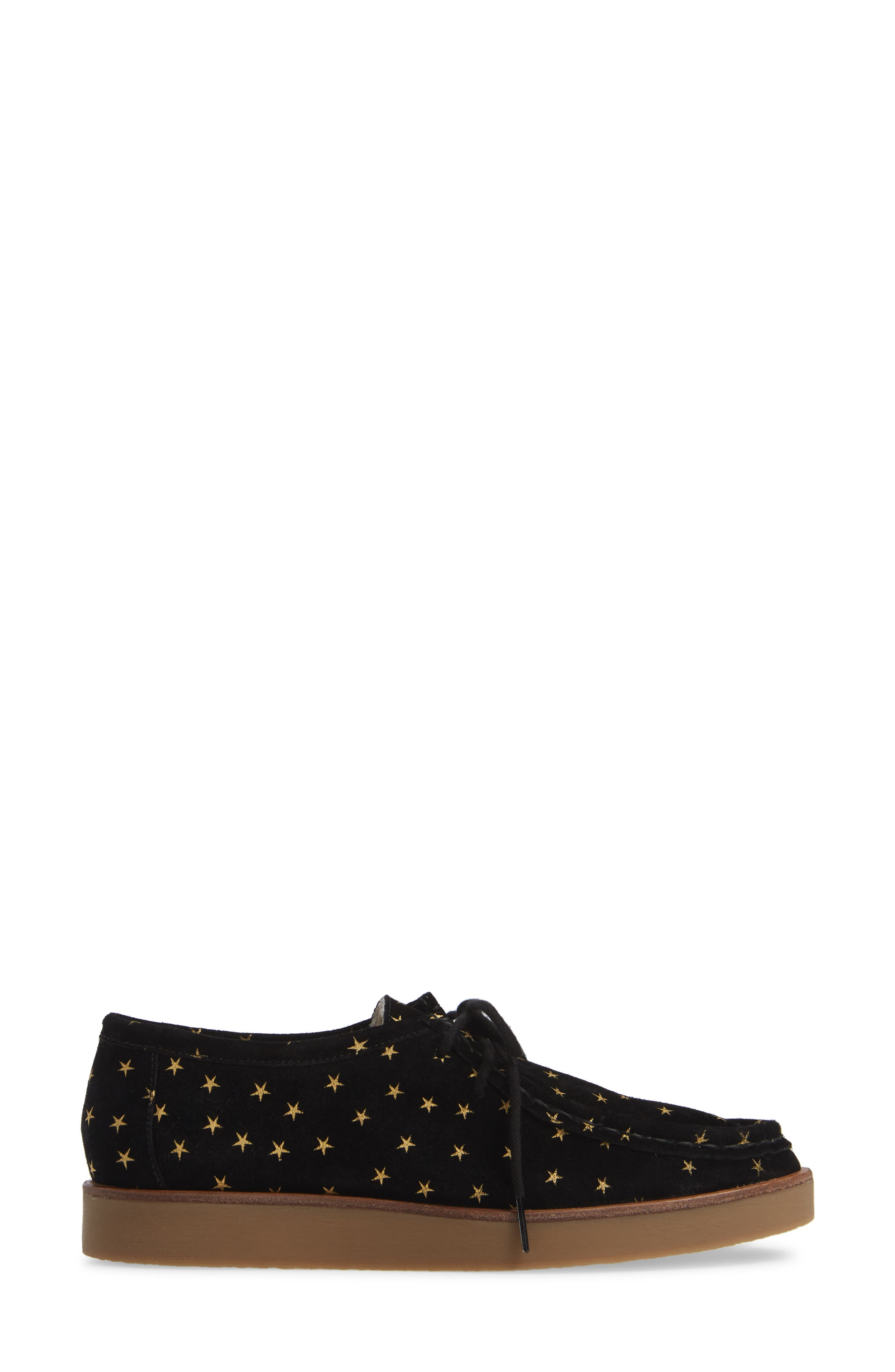 THE GREAT.,                             The Scout Star Sneaker,                             Alternate thumbnail 3, color,                             BLACK / GOLD STARS