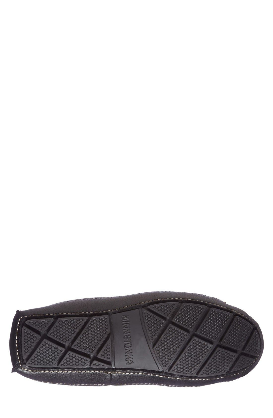 Genuine Shearling Leather Slipper,                             Alternate thumbnail 4, color,                             BLACK
