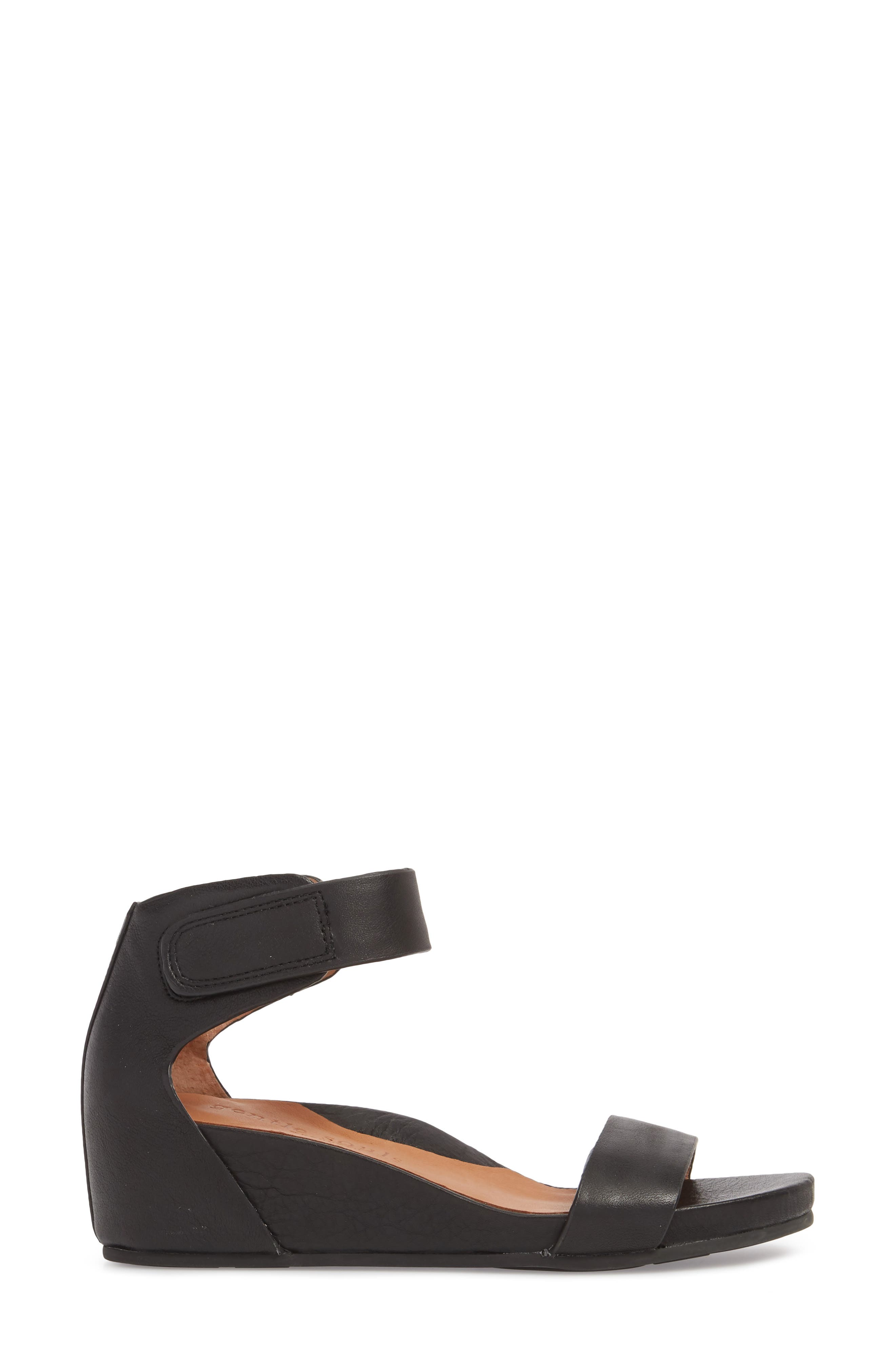 by Kenneth Cole Gianna Wedge Sandal,                             Alternate thumbnail 3, color,                             BLACK LEATHER