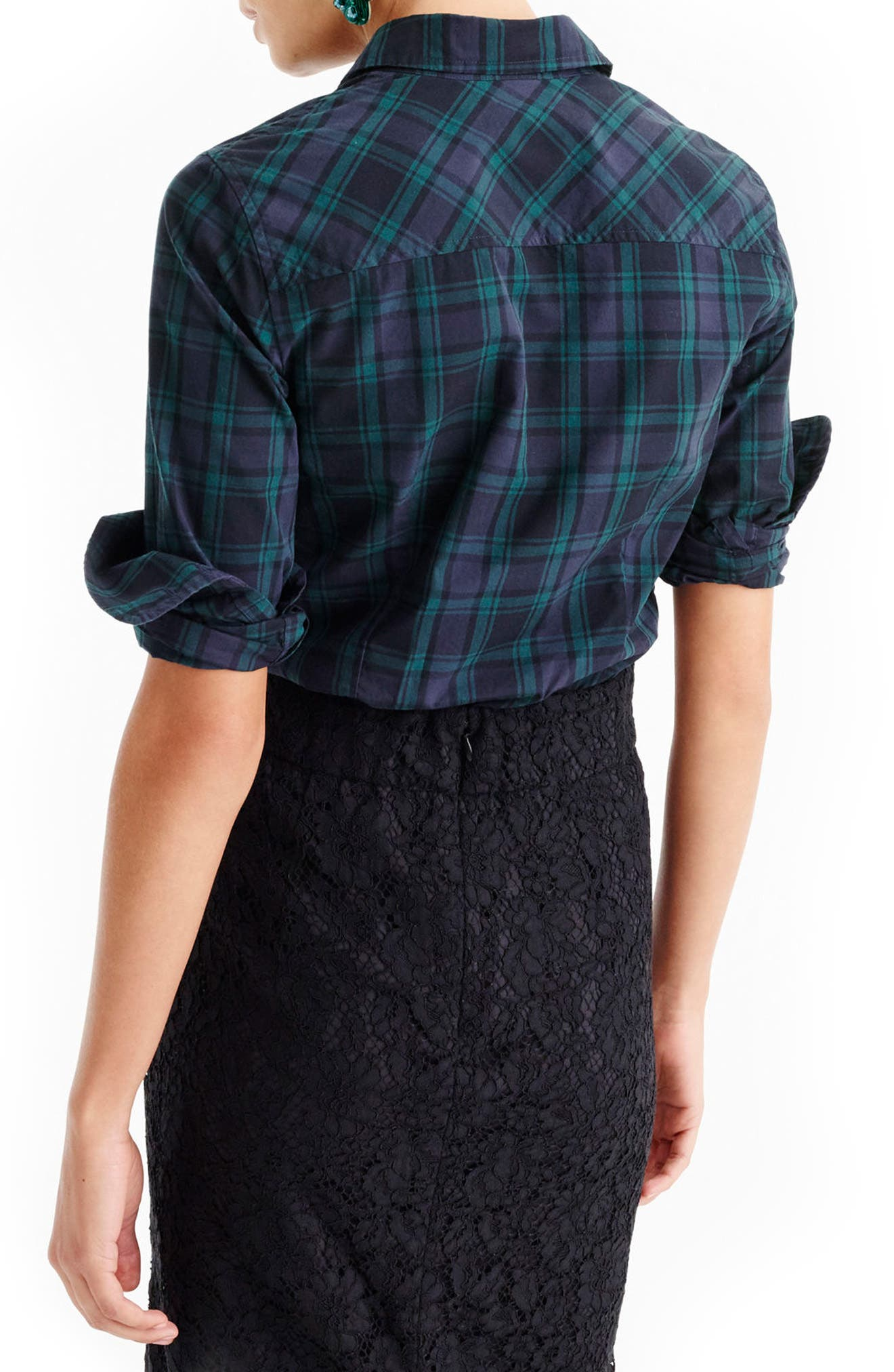 Perfect Club Collar Black Watch Plaid Shirt,                             Alternate thumbnail 2, color,                             300