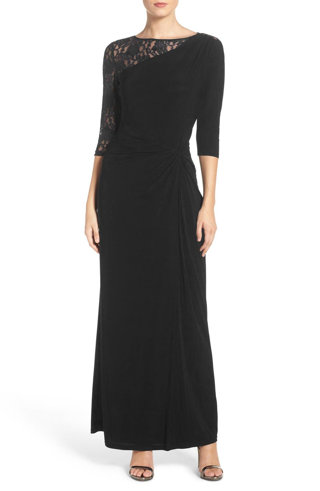 Sequin Lace & Jersey Gown,                             Main thumbnail 1, color,                             001