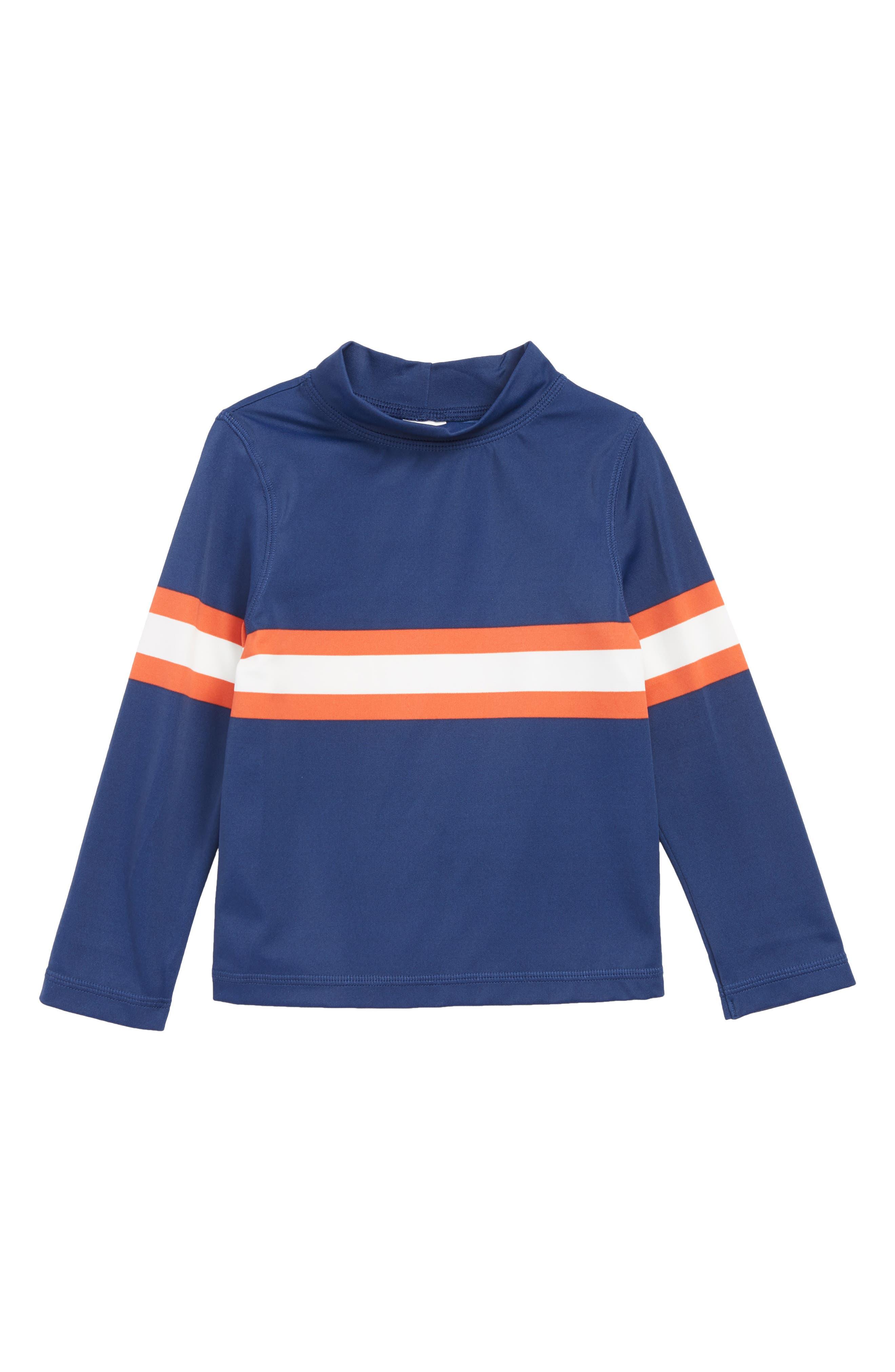 Toddler Boys Mini Boden Chest Stripe Rashguard Size 34Y  Blue