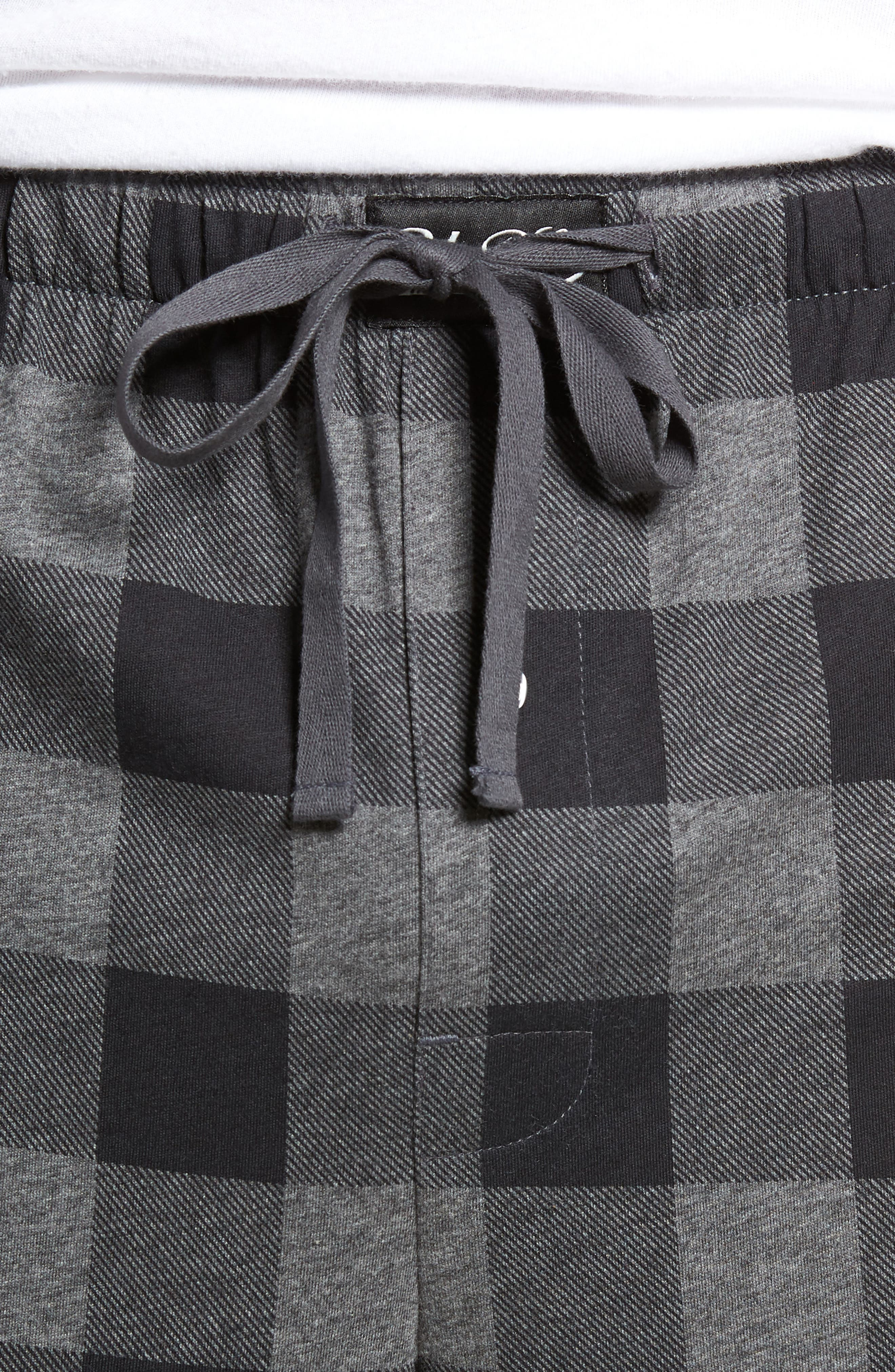 Cotton Lounge Pants,                             Alternate thumbnail 4, color,                             CHARCOAL/ BUFFALO PLAID