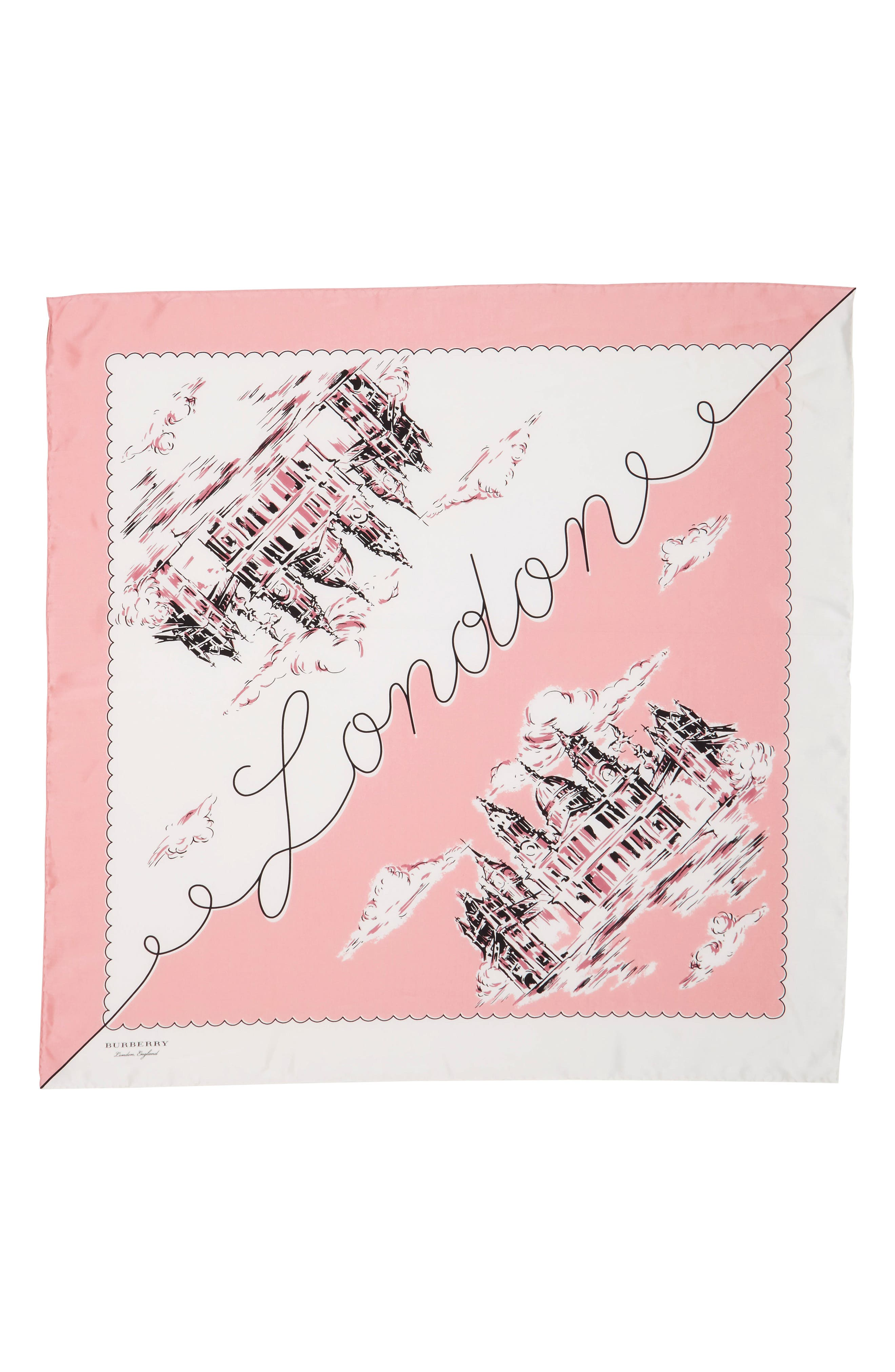 London Landscape Silk Square Scarf,                         Main,                         color, 650