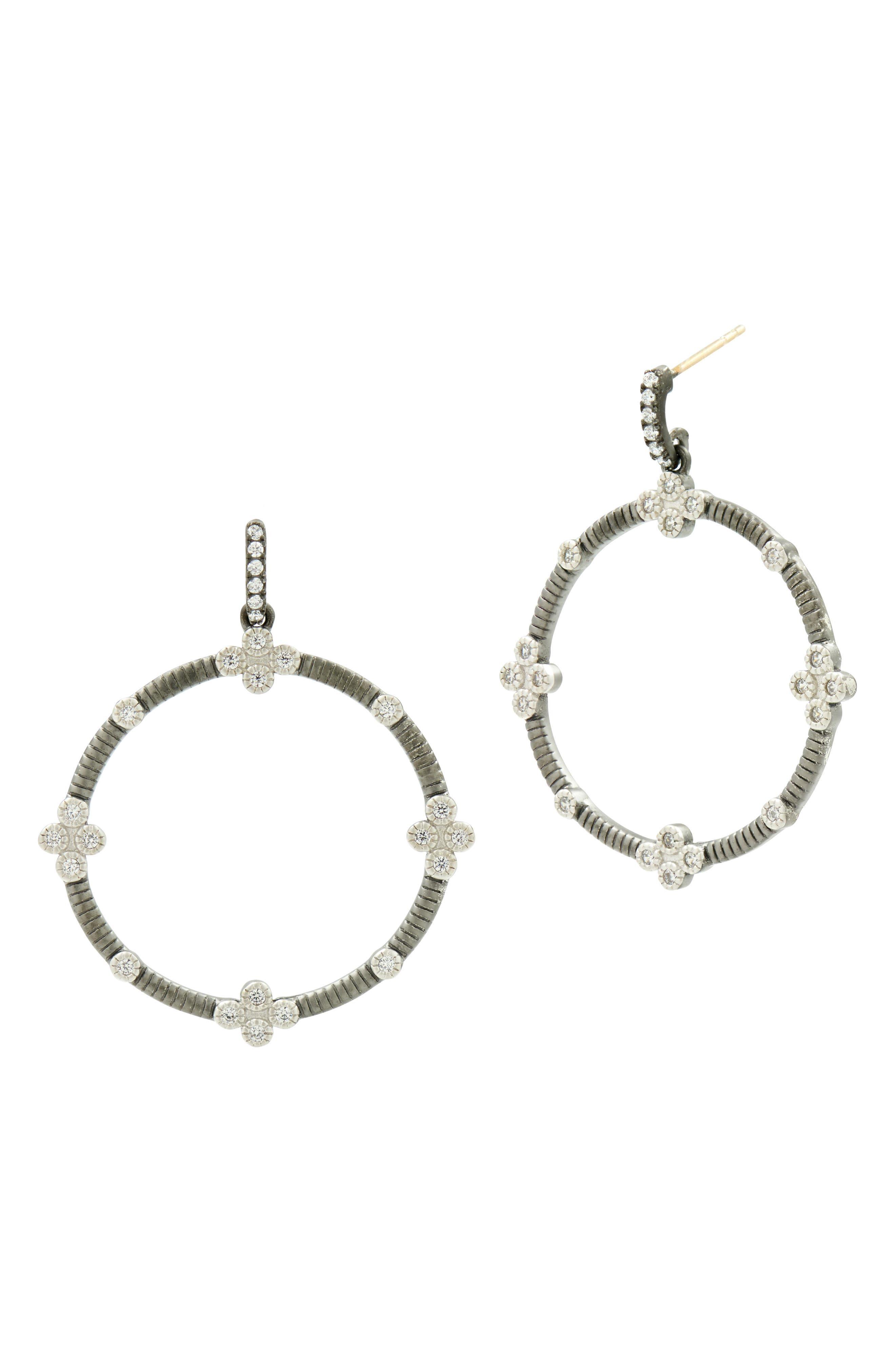 Four-Clover Point Frontal Hoop Earrings,                         Main,                         color, SILVER/ BLACK RHODIUM