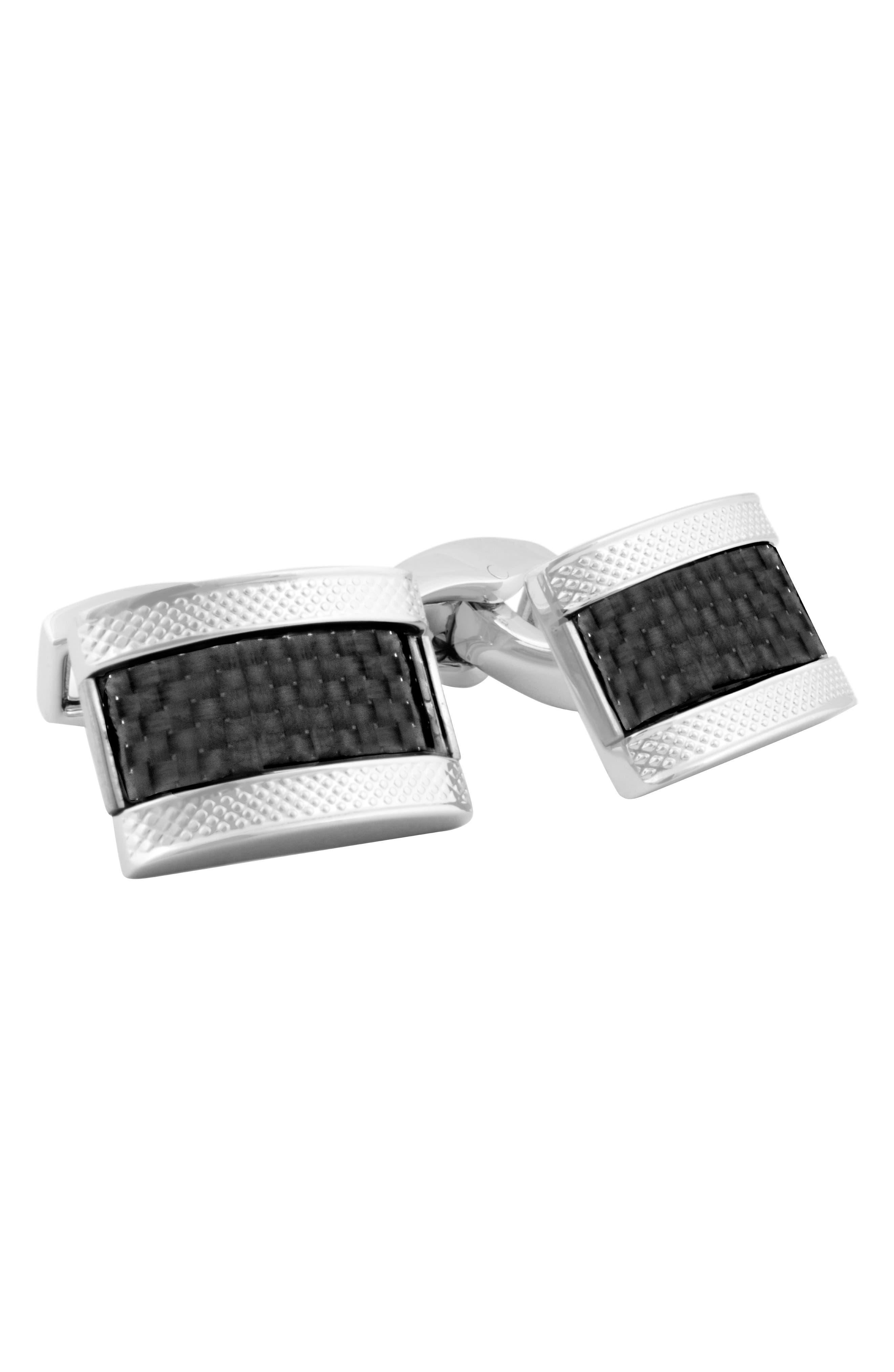 Carbon Fiber Cuff Links,                         Main,                         color, RHODIUM/ BLACK