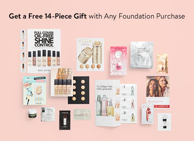 Free 14-piece gift with any foundation purchase.