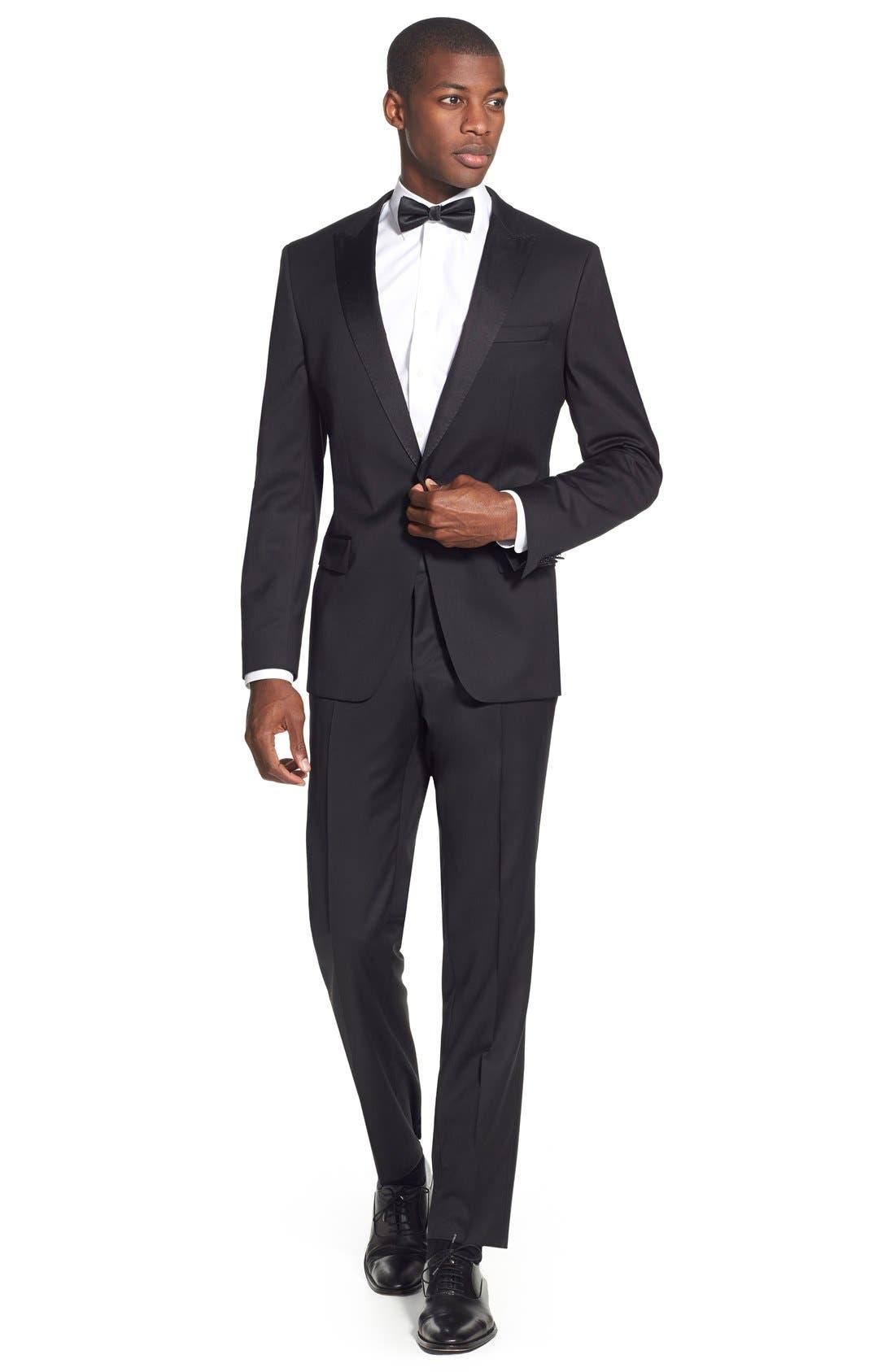 Trim Fit Wool Tuxedo,                             Alternate thumbnail 8, color,                             BLACK