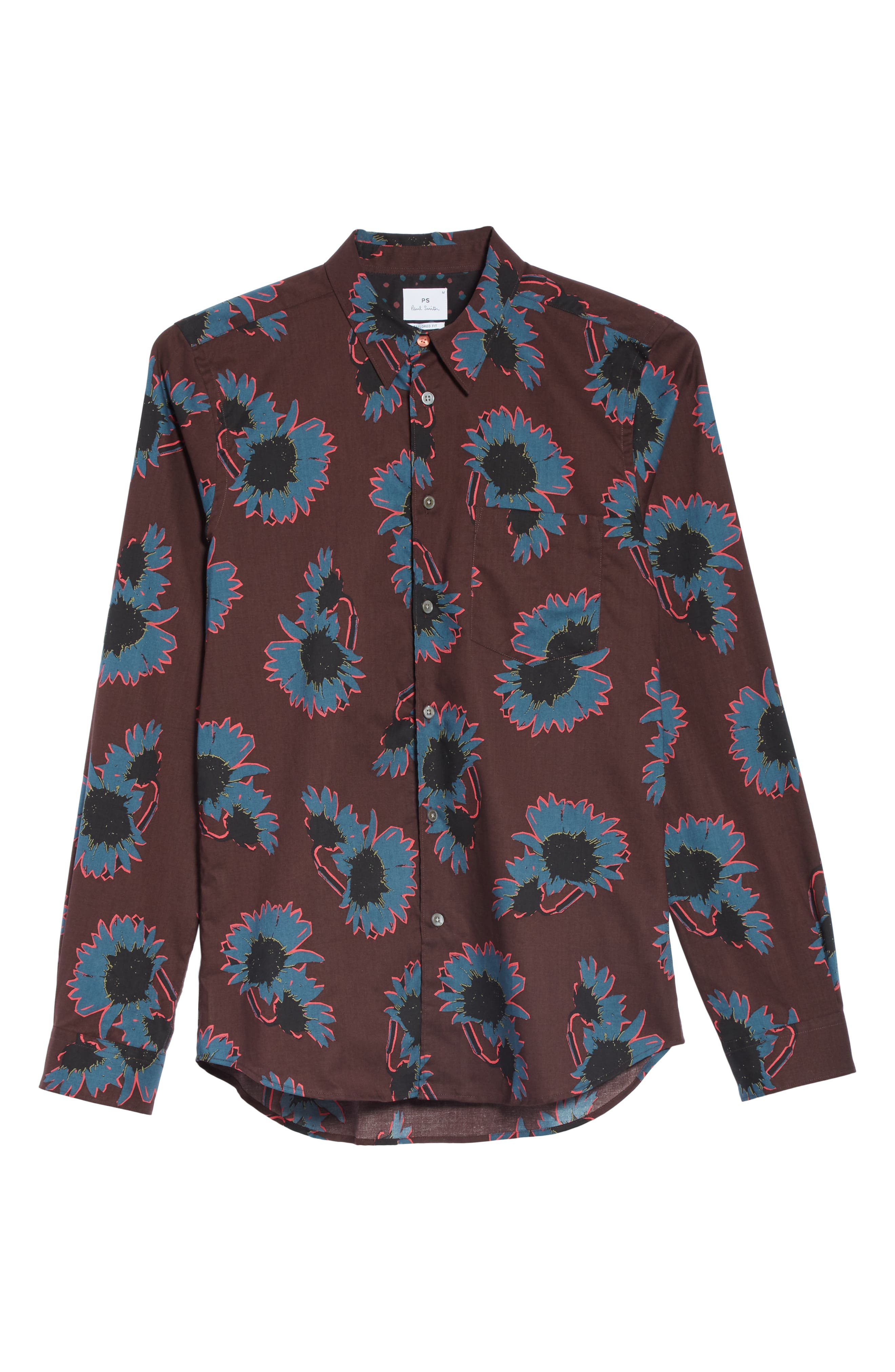 Flower Print Woven Shirt,                             Alternate thumbnail 5, color,                             BLUE