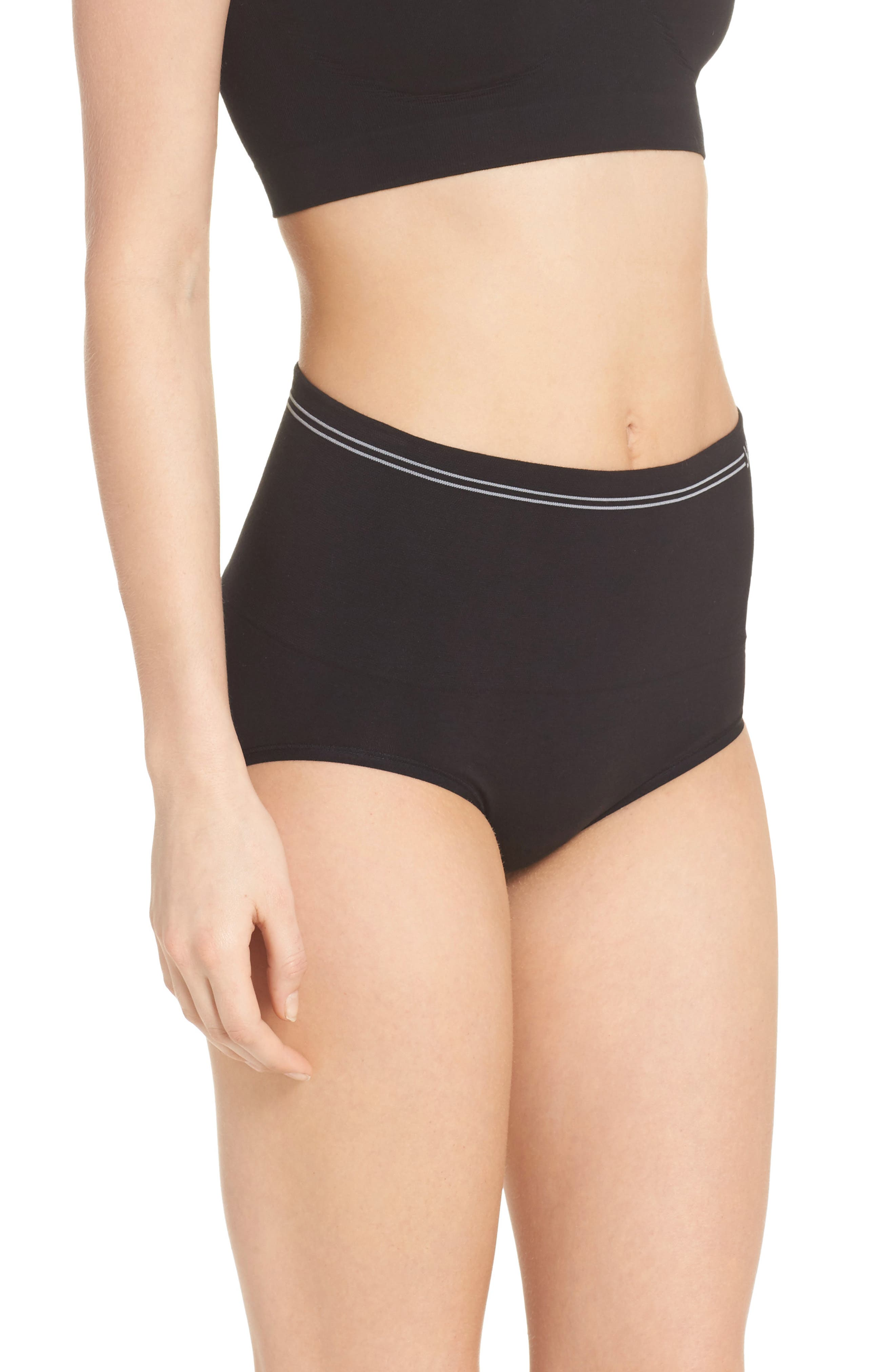 Seamless Shaping Briefs,                             Alternate thumbnail 3, color,                             BLACK