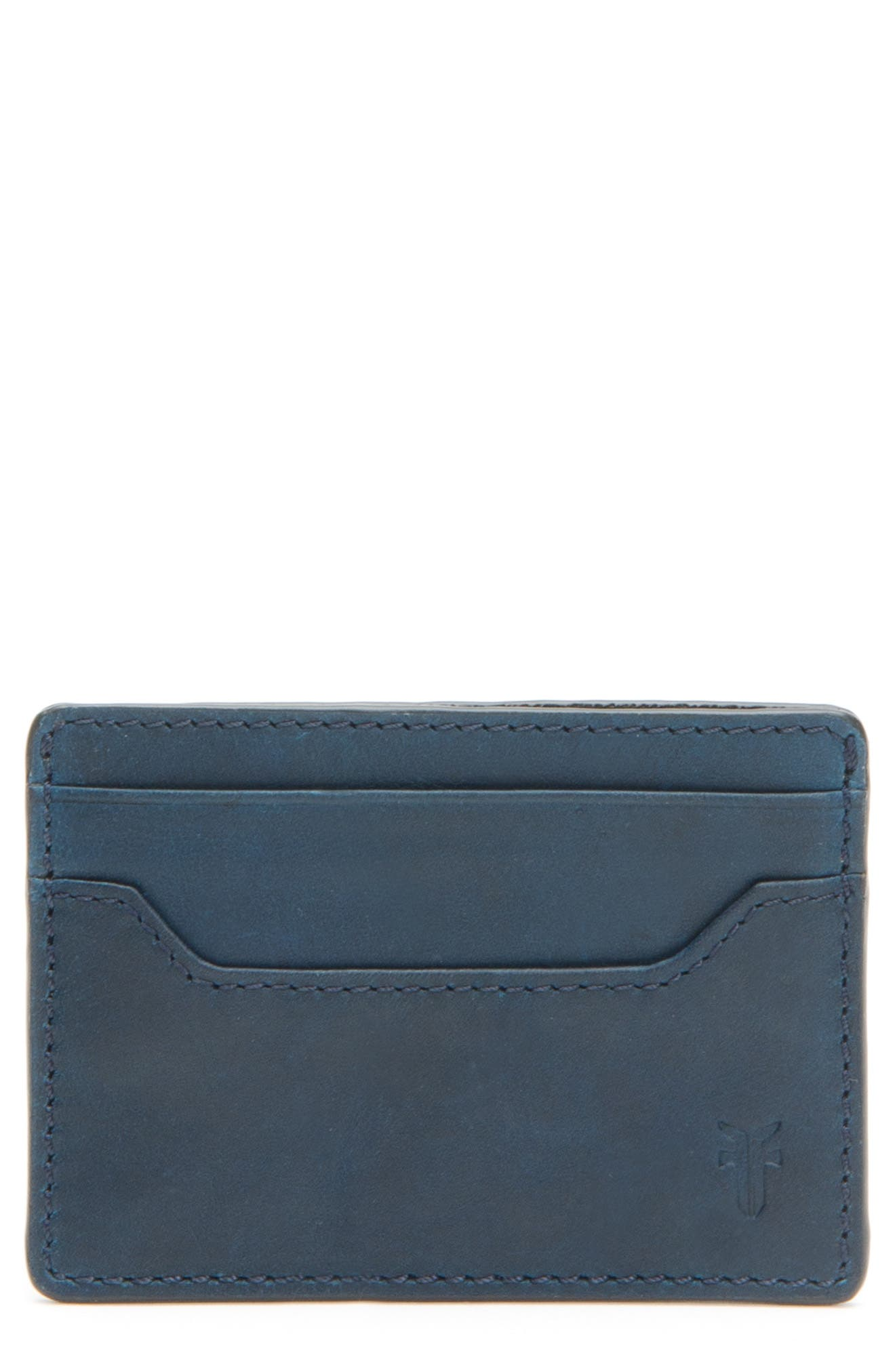 'Logan' Leather Card Holder,                             Main thumbnail 1, color,                             NAVY