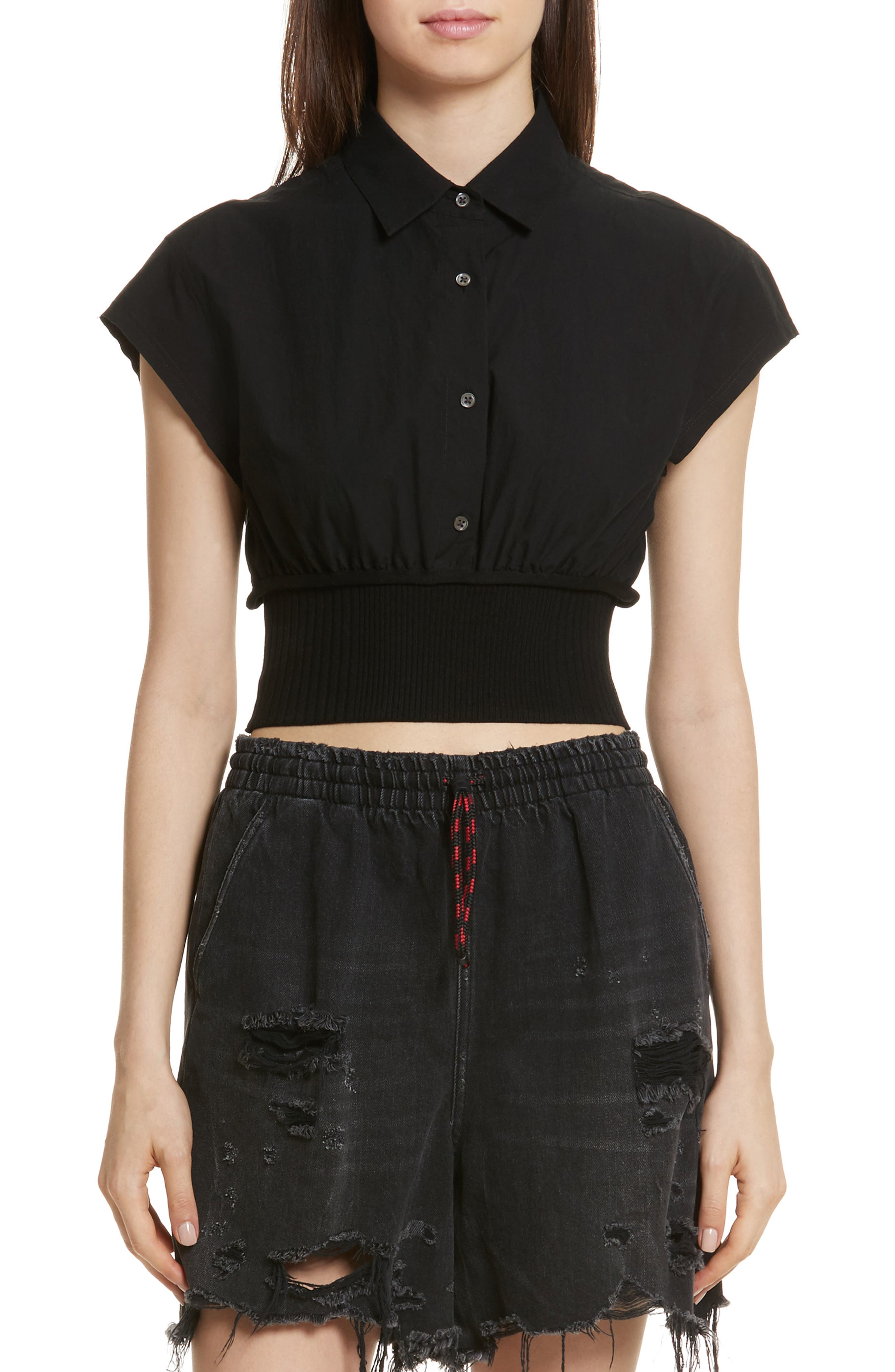 T by Alexander Wang Washed Cotton Poplin Crop Top,                         Main,                         color, 001