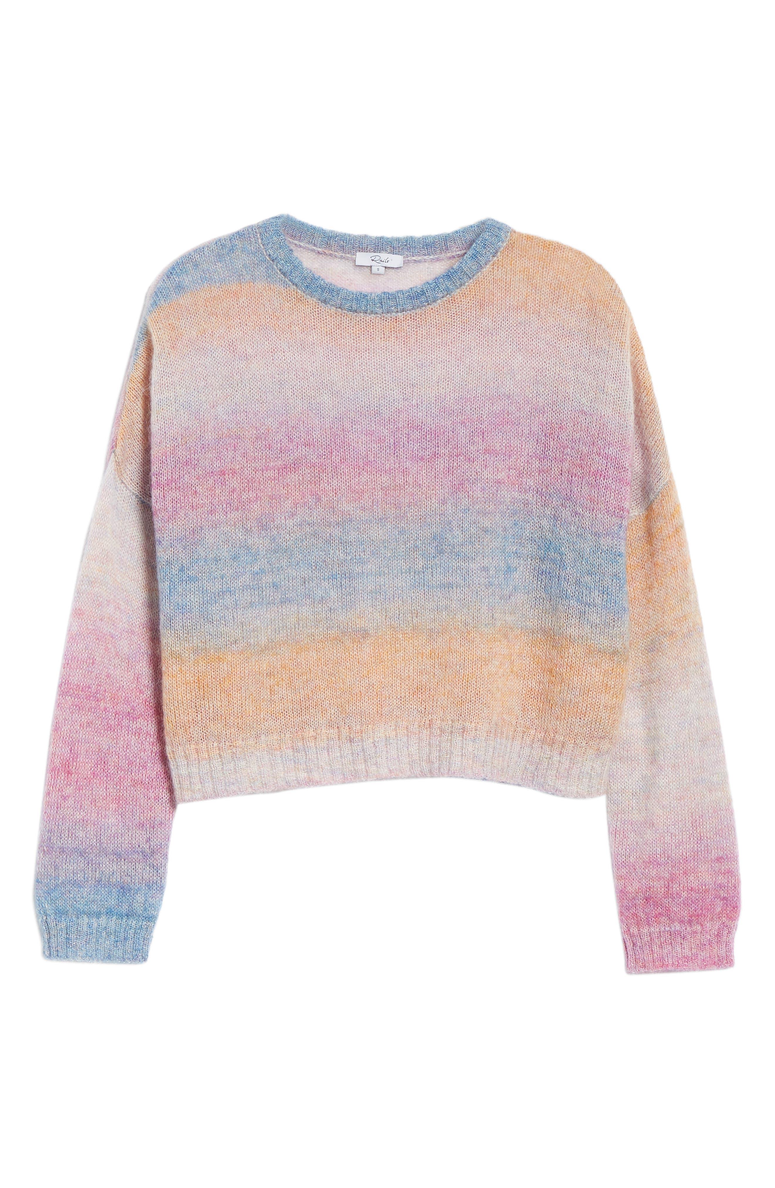 Camille Stripe Sweater,                             Alternate thumbnail 7, color,                             RAINBOW