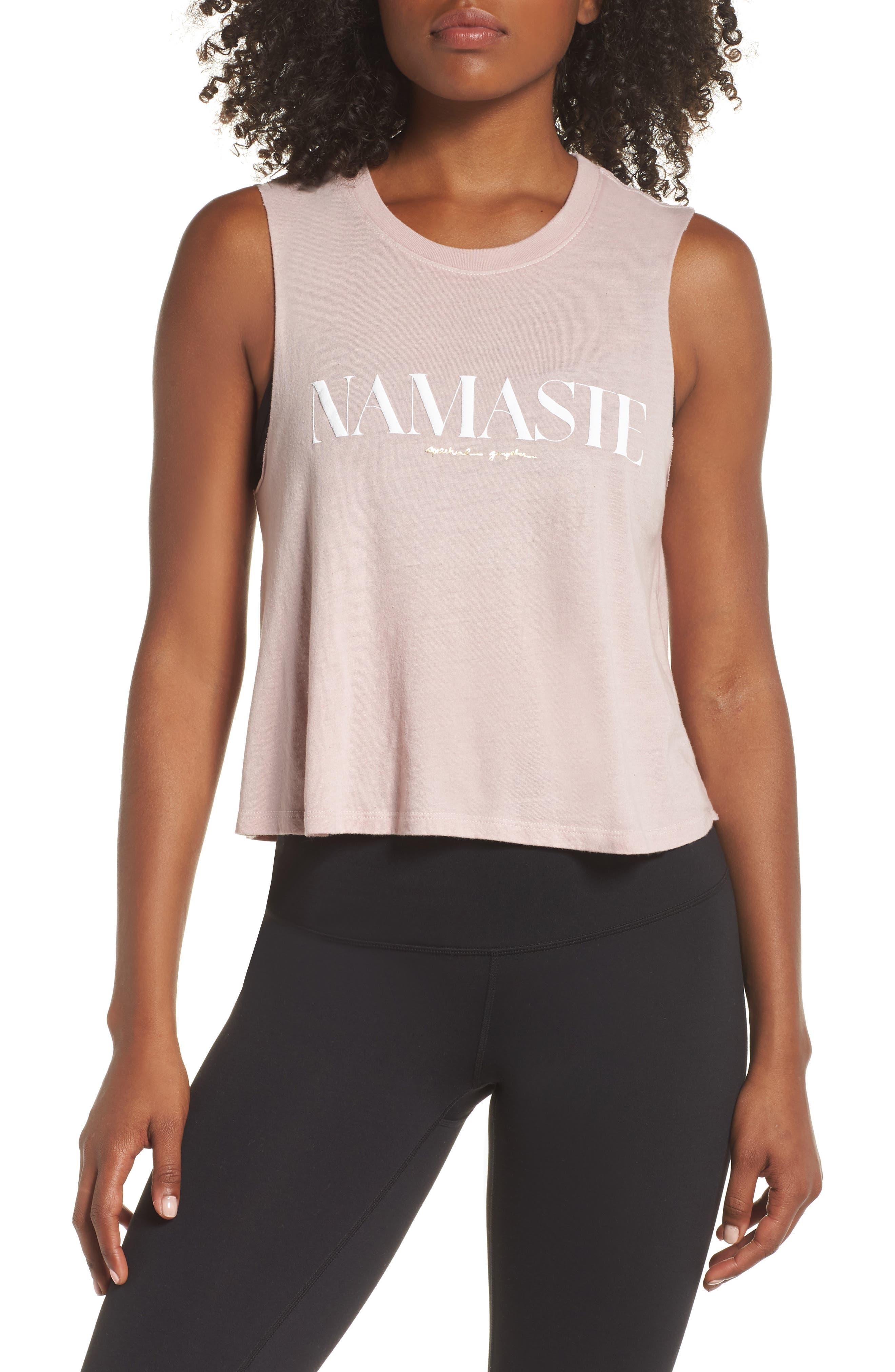 Namaste Cotton Blend Crop Tank Top,                         Main,                         color, ROSE QUARTZ