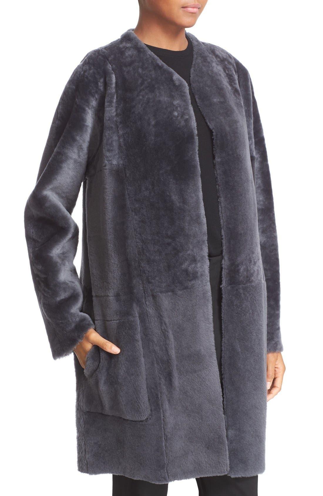 Reversible Genuine Shearling Car Coat, Main, color, 082