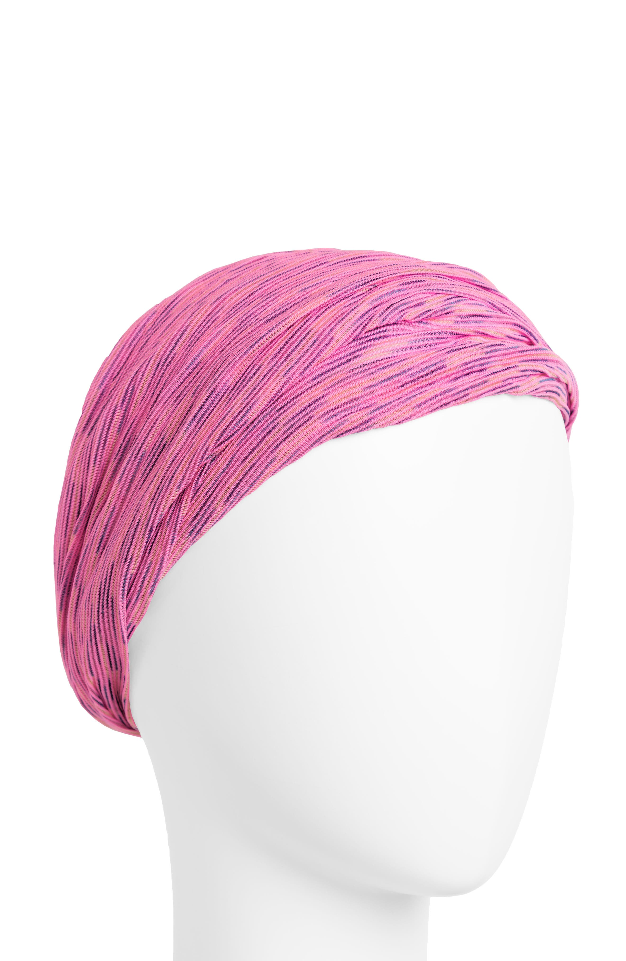 Space Dye Relaxed Turban Head Wrap,                             Main thumbnail 1, color,                             PINK