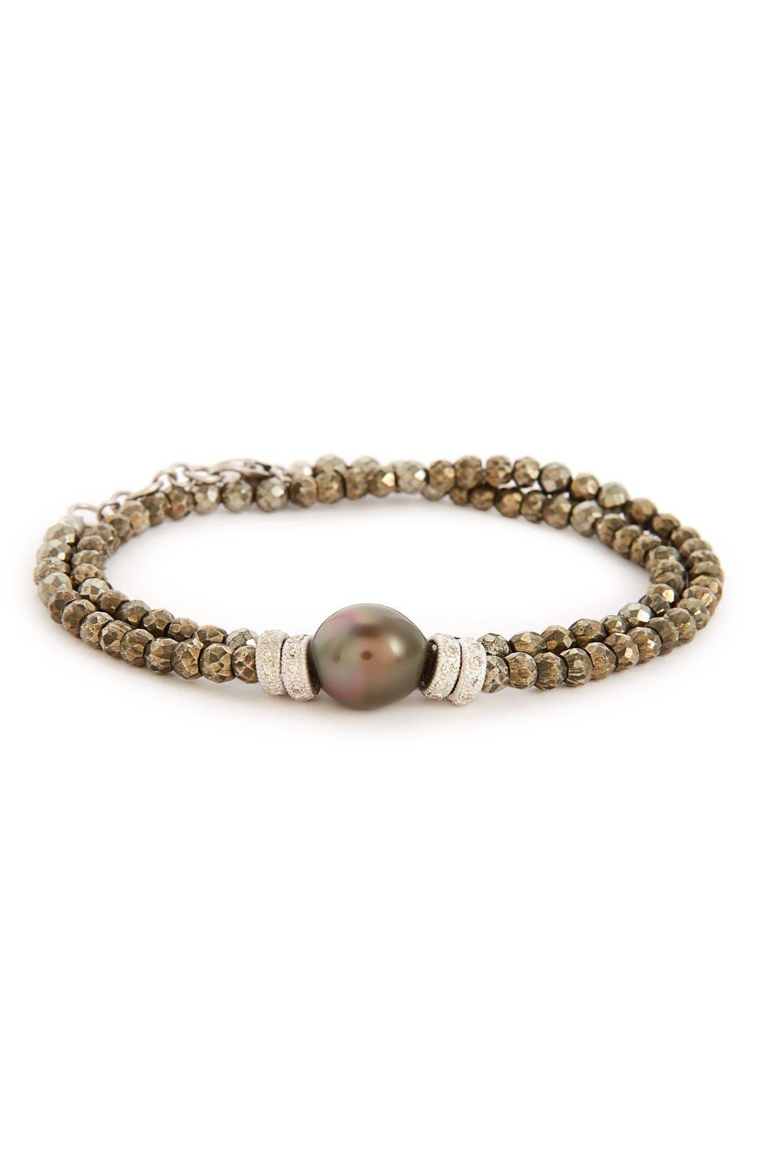 Old World Semiprecious Stone & Diamond Beaded Bracelet,                             Main thumbnail 1, color,                             SILVER