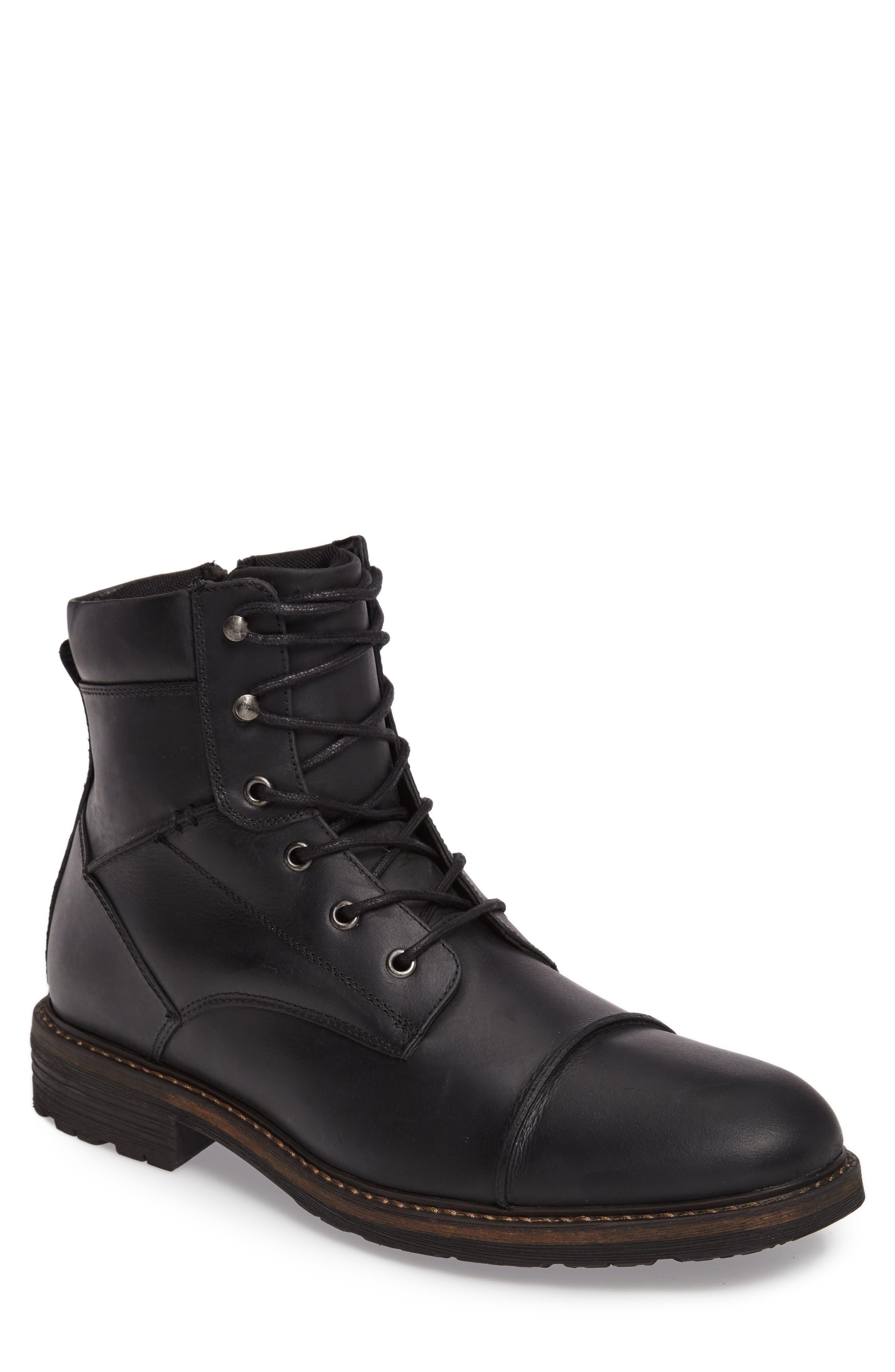 Derek Cap Toe Boot,                         Main,                         color, BLACK LEATHER