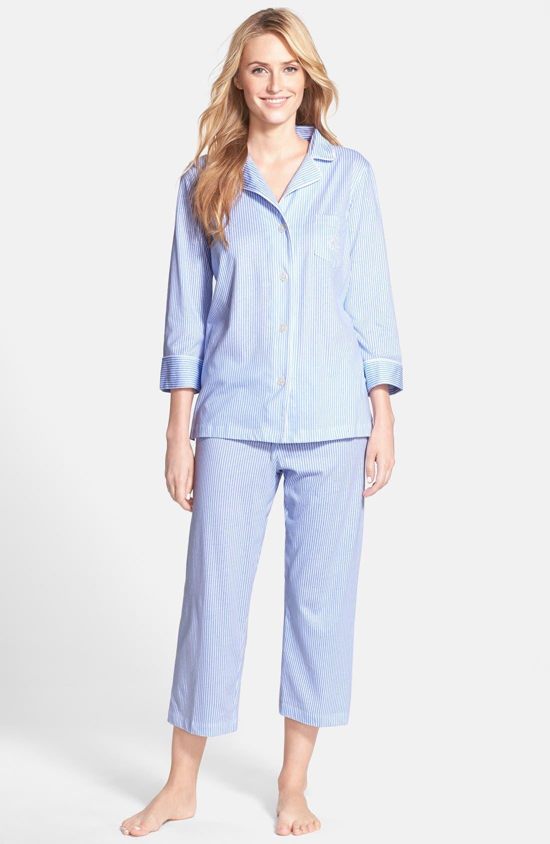 Knit Crop Pajamas,                             Main thumbnail 4, color,