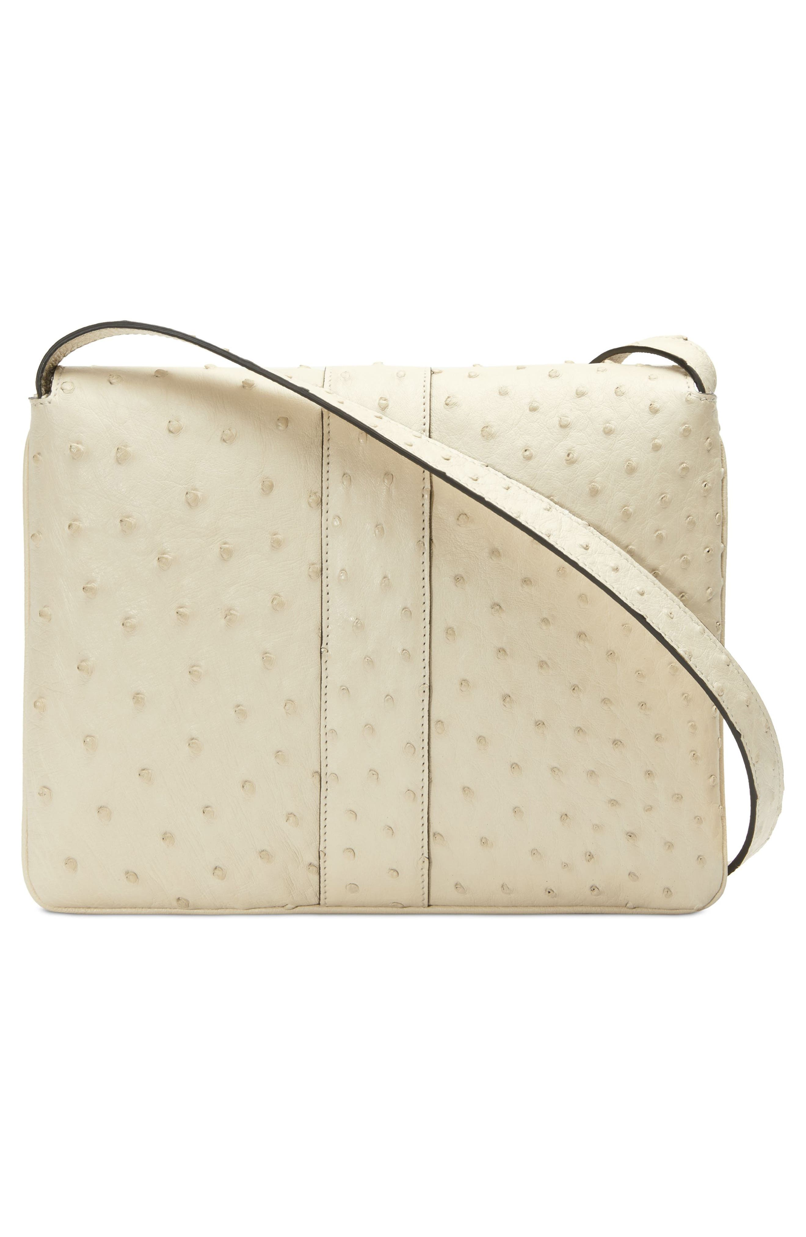Medium Arli Ostrich Shoulder Bag,                             Alternate thumbnail 2, color,                             IVORY