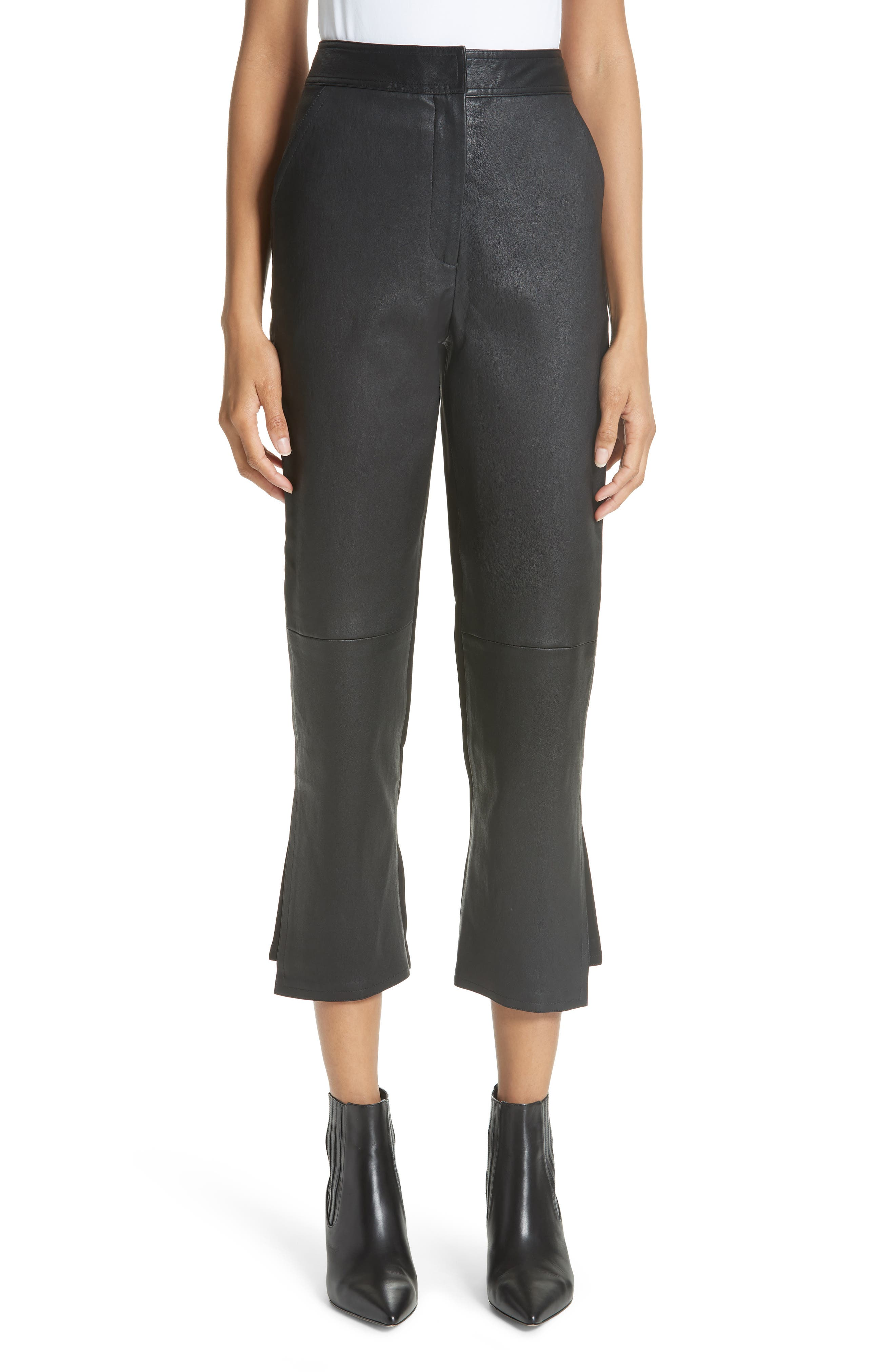 Yigal Azrouel Leather Front Crop Flare Pants, Black