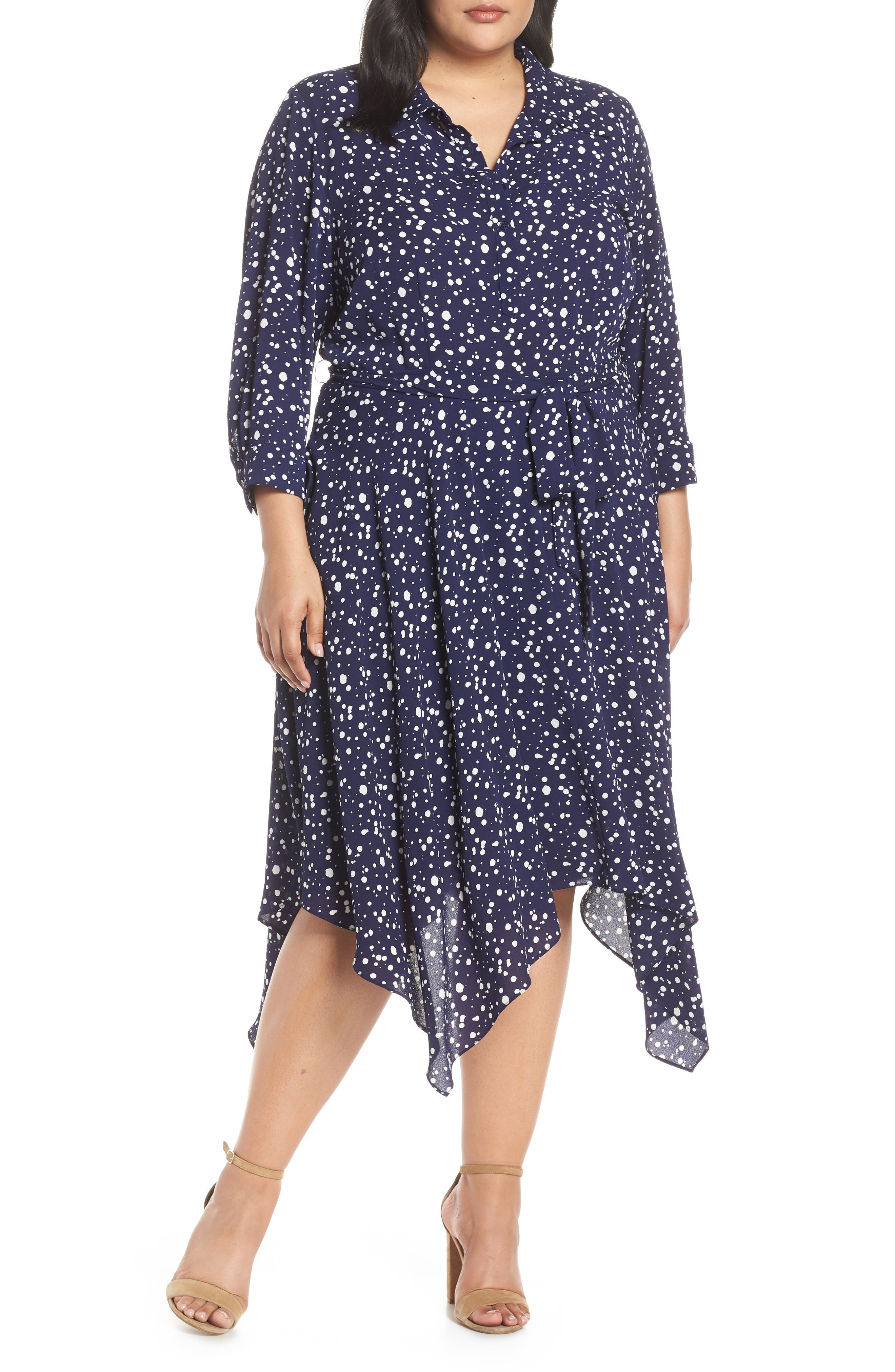 Plus Size Eliza J Handkerchief Hem Midi Dress, Blue