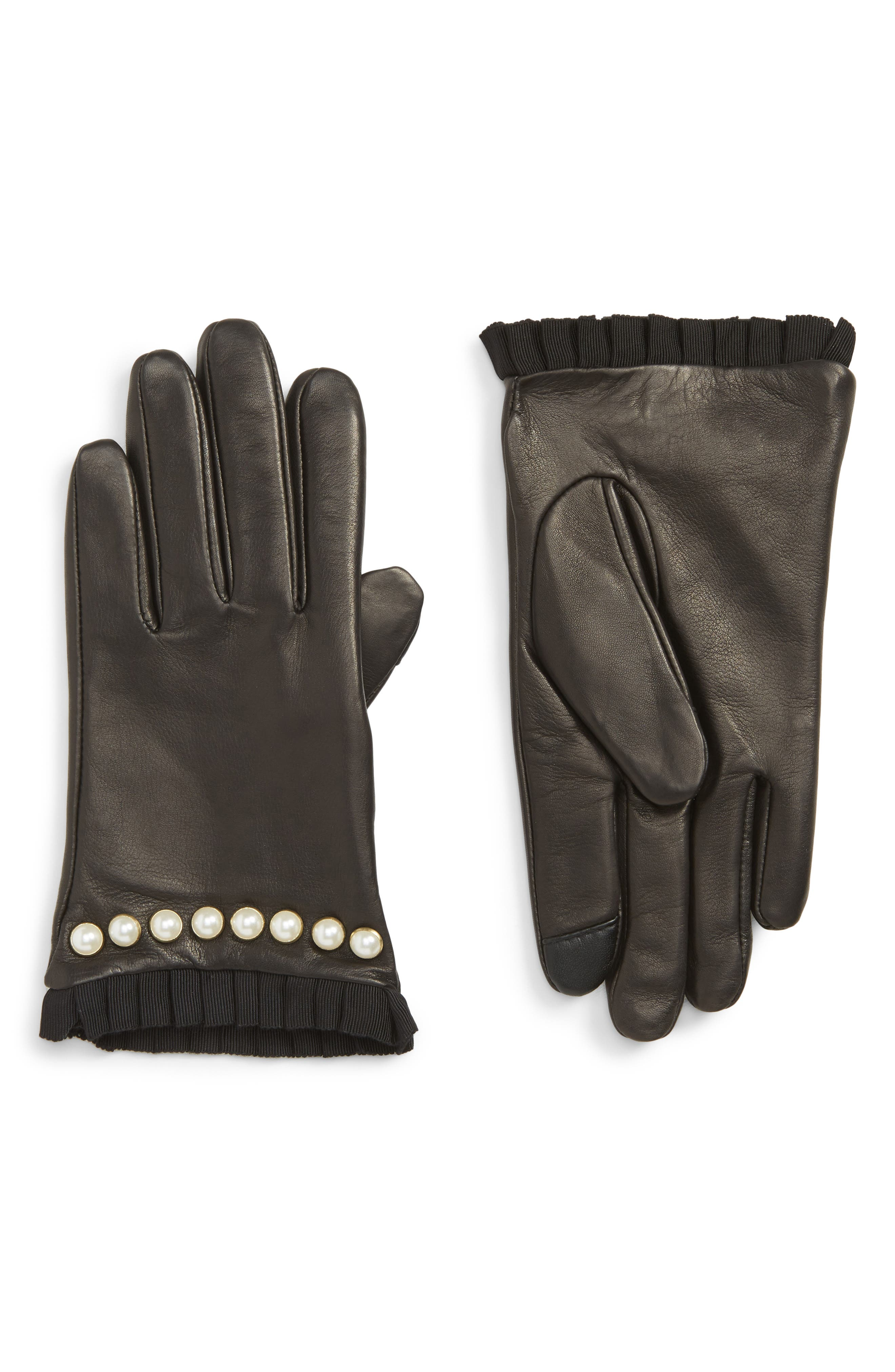 Echo Imitation Pearl Trim Leather Touchscreen Gloves, Black