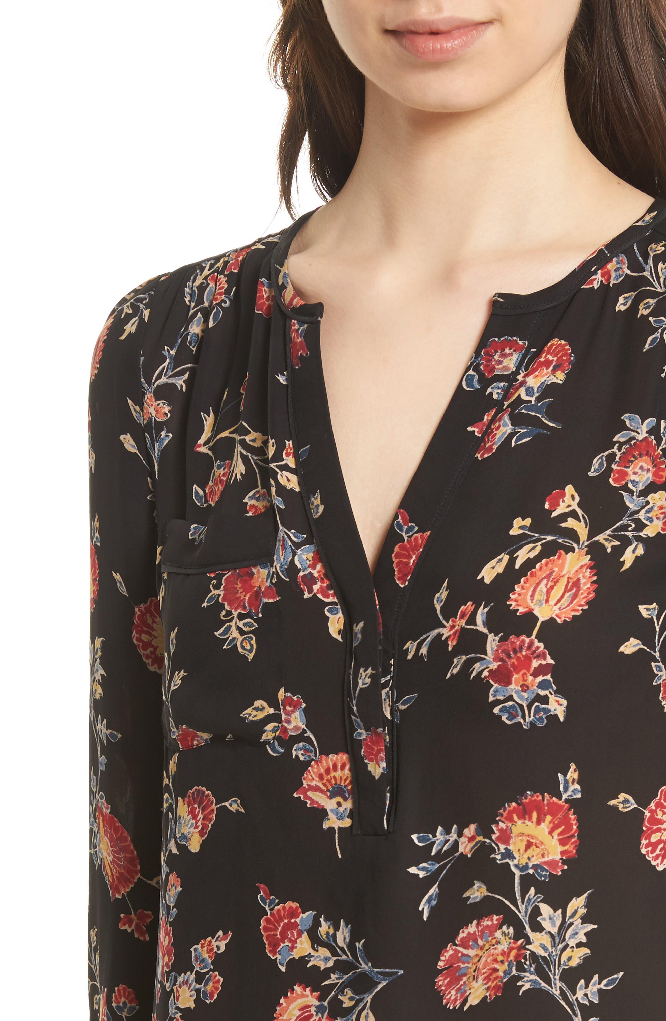 Brittin Floral Silk Top,                             Alternate thumbnail 4, color,                             007